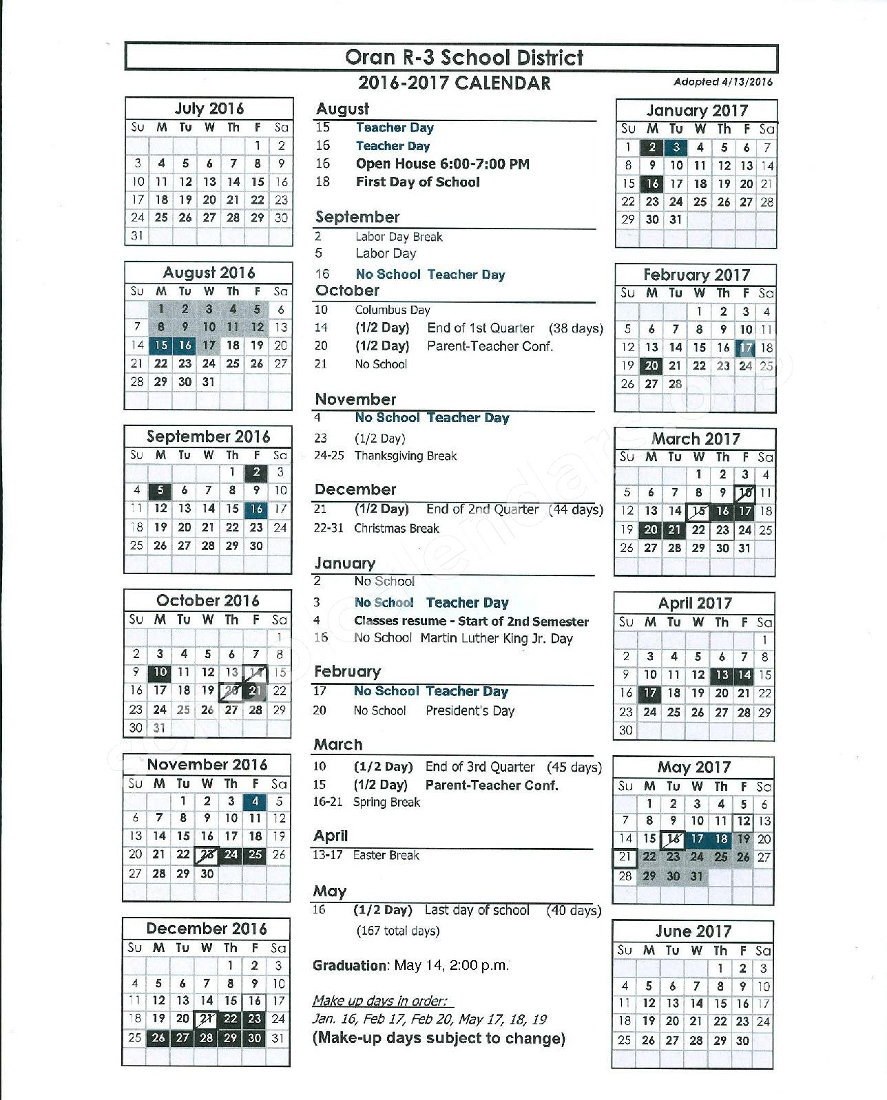 2016 - 2017 School Calendar – Oran R-III School District – page 1