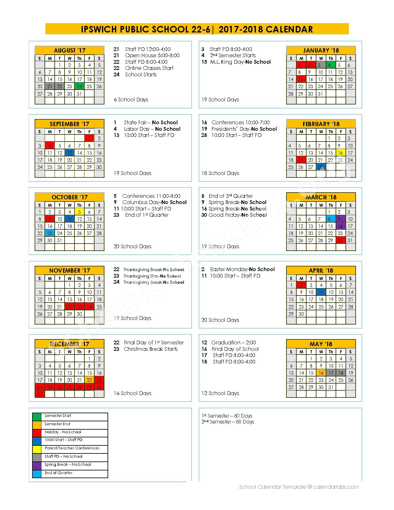 2017 - 2018 Academic Calendar – Ipswich Public School District 22-6 – page 1