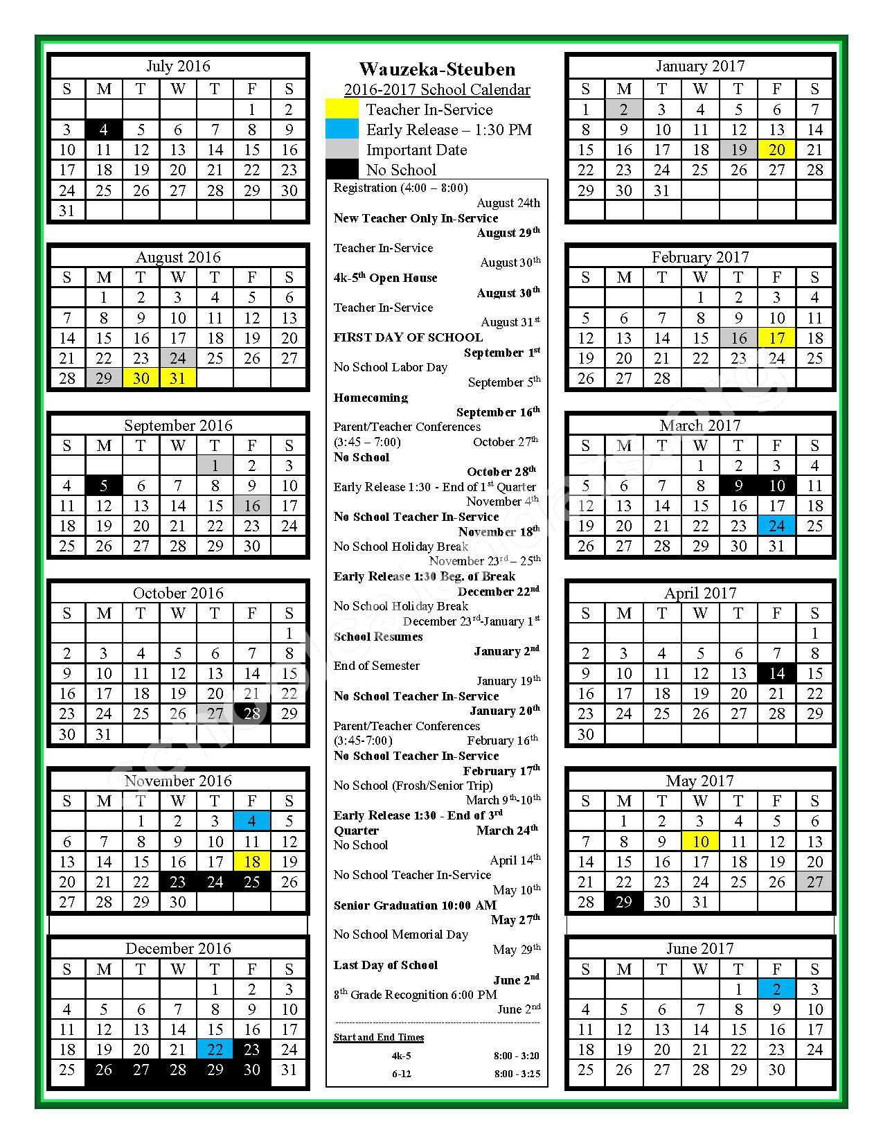 2016 - 2017 School Calendar – Wauzeka-Steuben School District – page 1