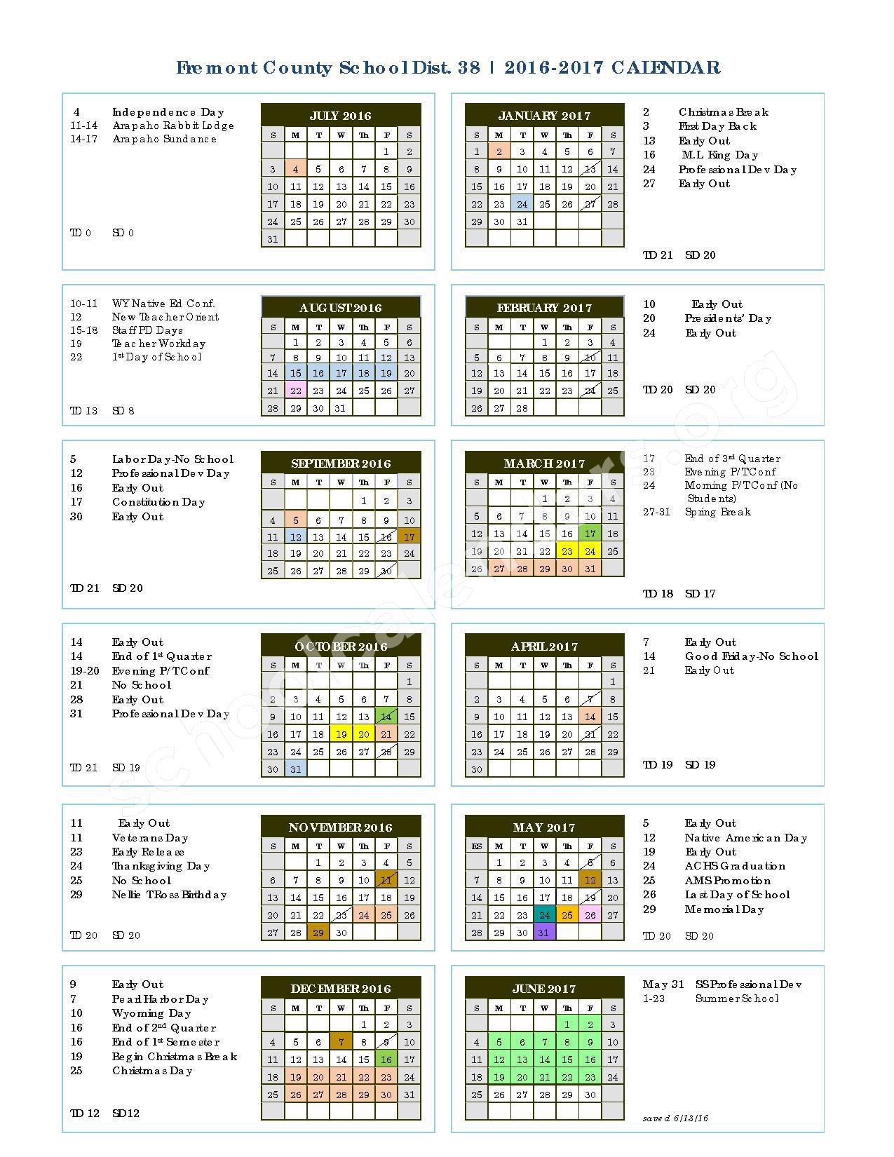 2016 - 2017 School Calendar – Fremont County School District #38 – page 1