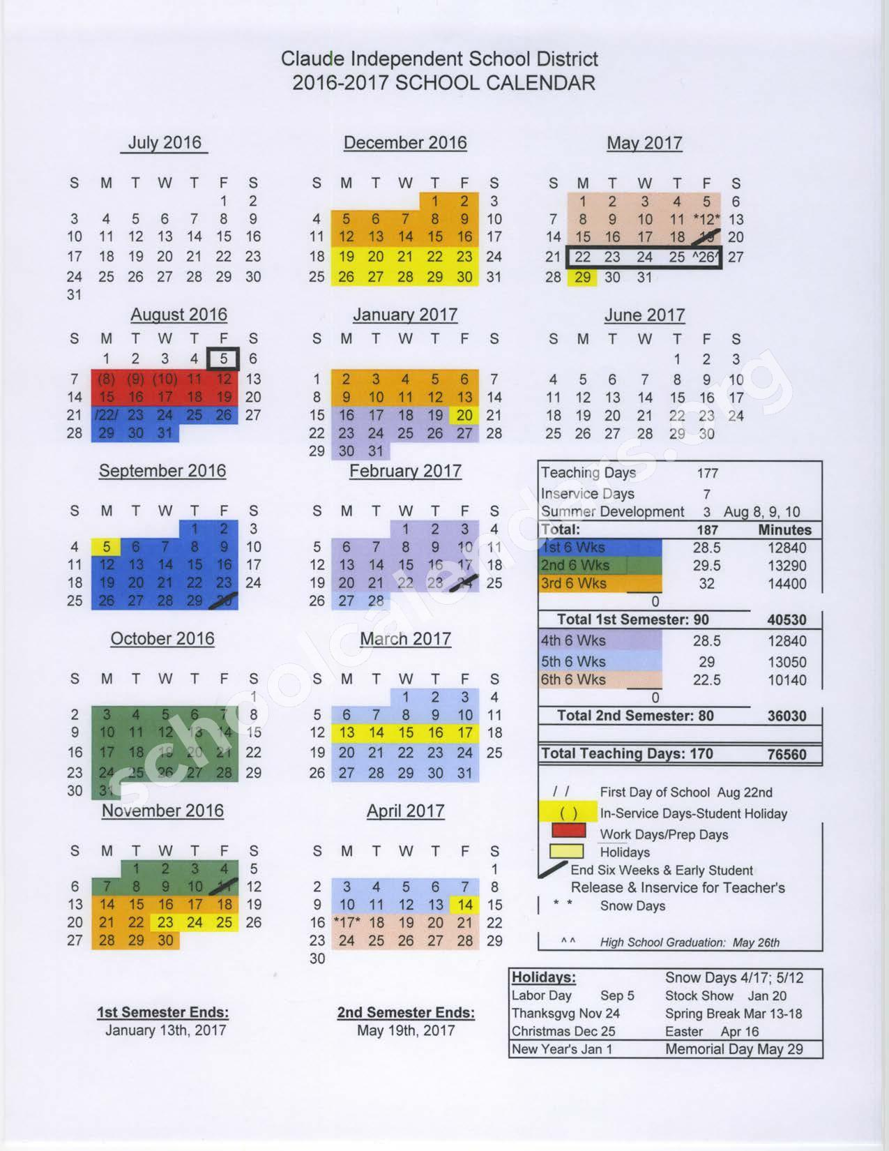 2016 - 2017 District Calendar – Claude Independent School District – page 1