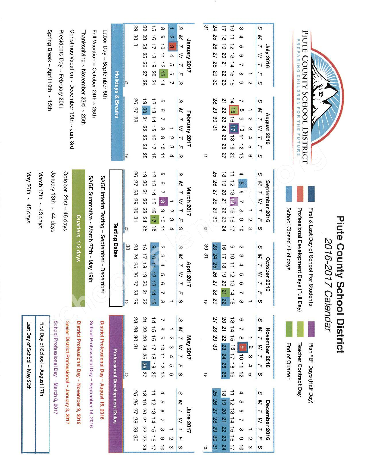 2016 - 2017 District Calendar – Piute School District – page 1