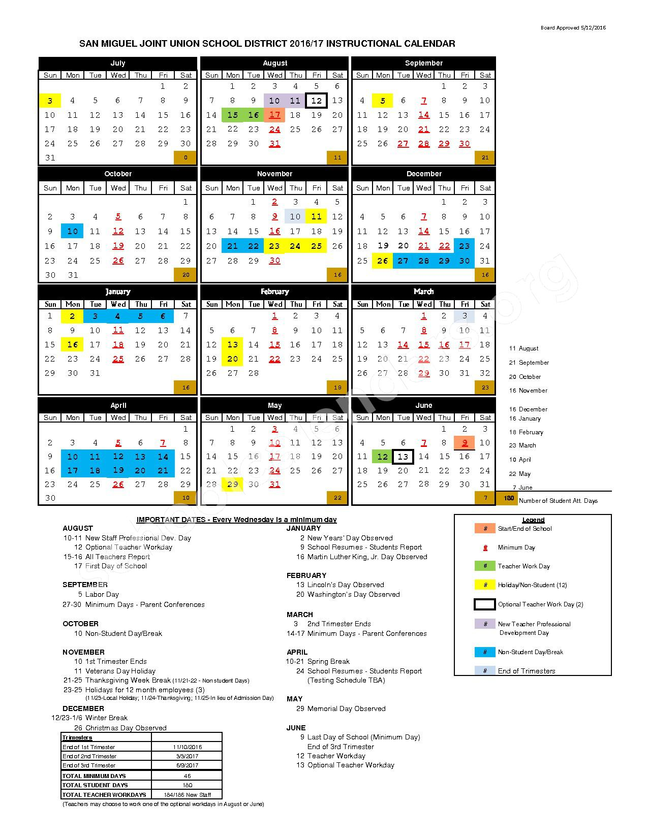 2016 - 2017 Instructional Calendar – San Miguel Joint Union School District – page 1