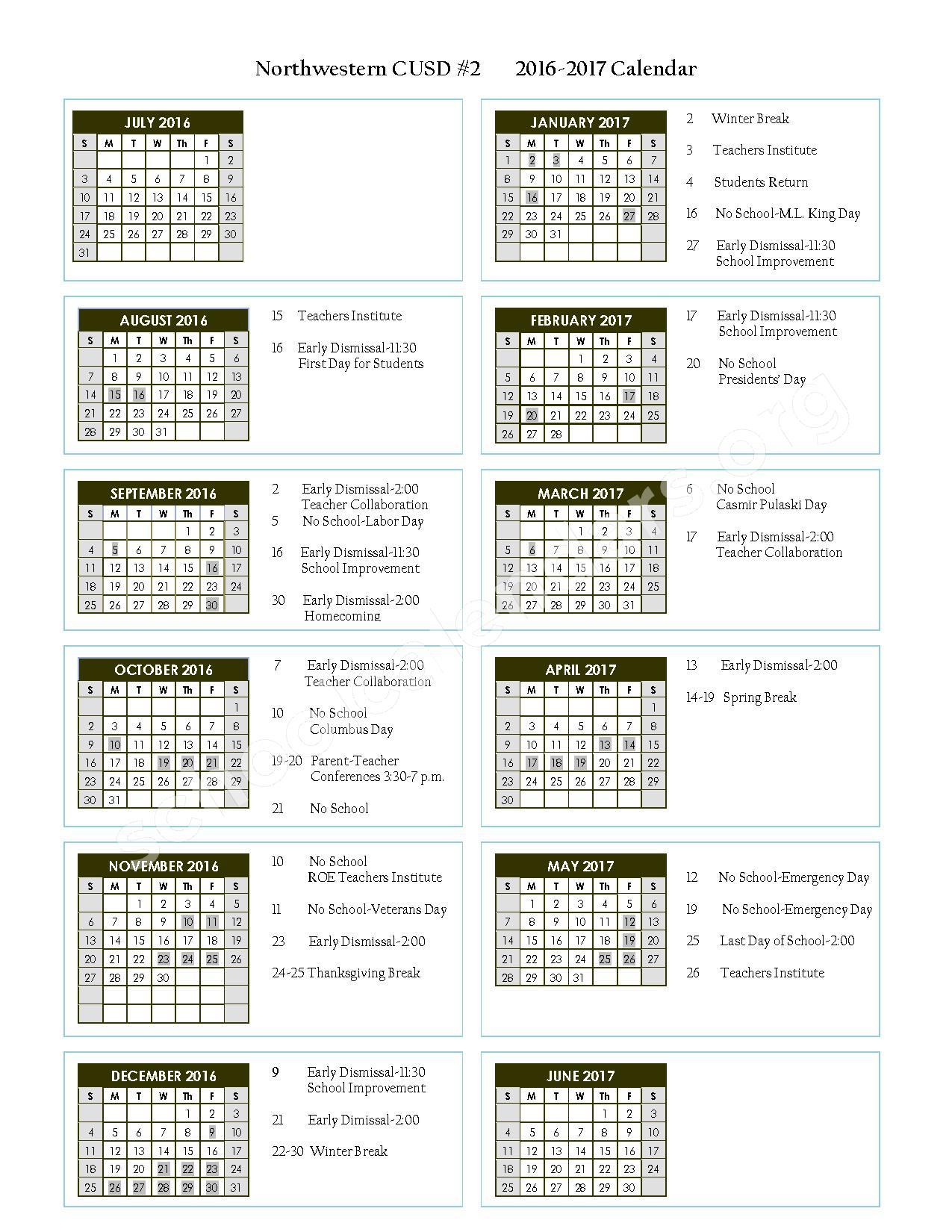 2016 - 2017 District Calendar – Northwestern Community Unit School District 2 – page 1