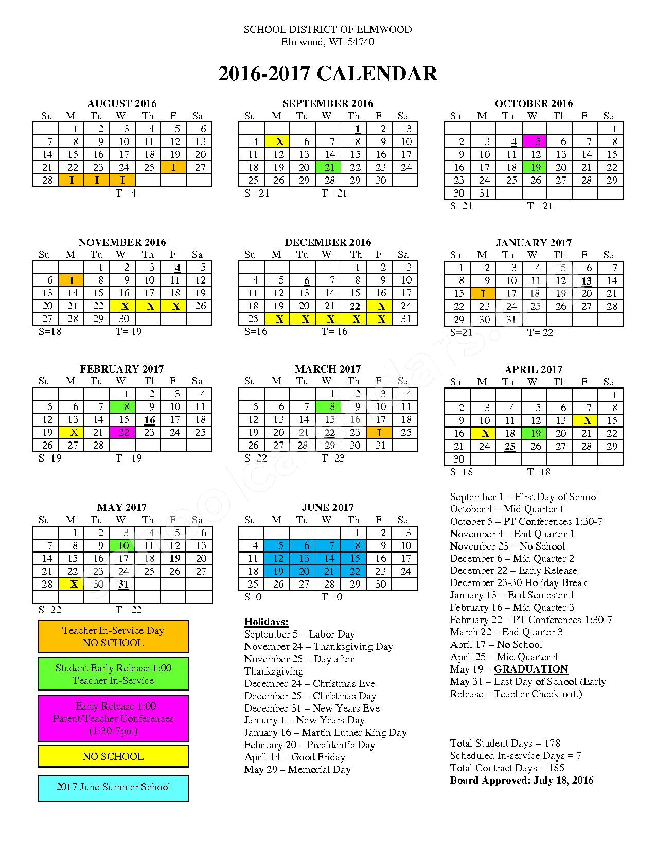 2016 - 2017 District Calendar – Elmwood School District – page 1