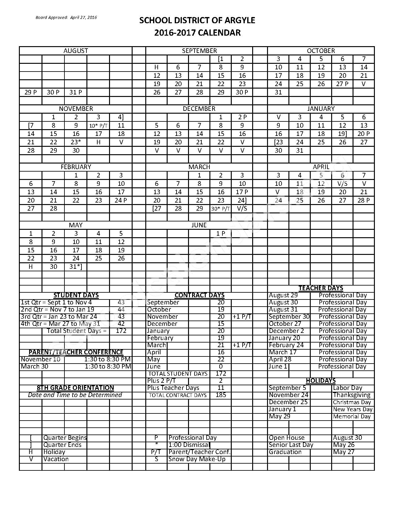 2016 - 2017 District Calendar – Argyle School District – page 1