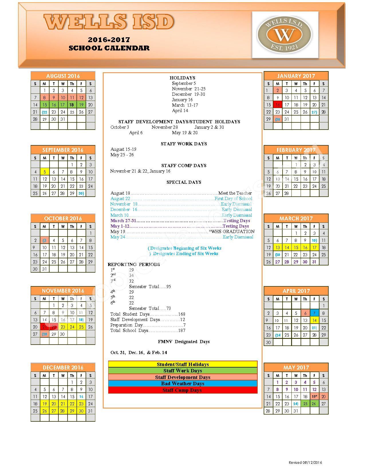 2016 - 2017 School Calendar – Wells Independent School District – page 1