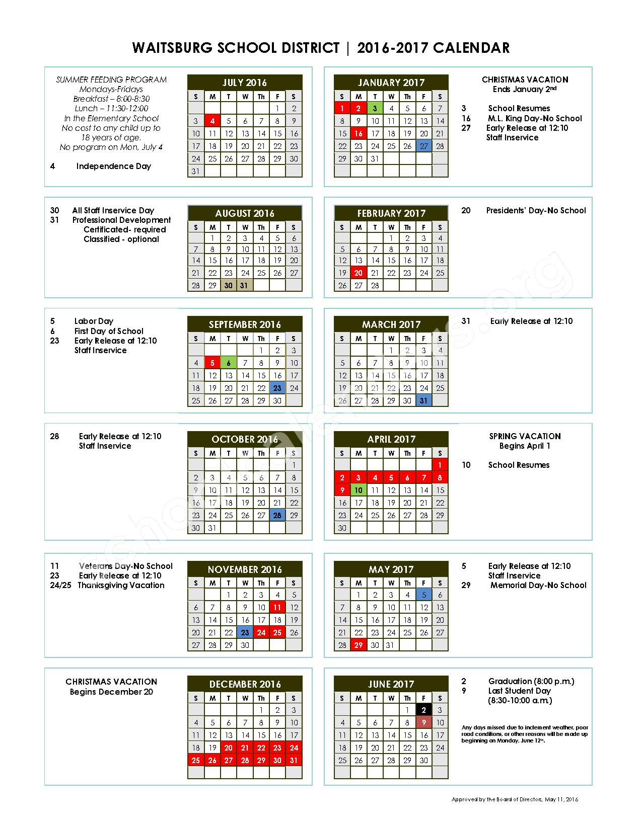 2016 - 2017 School Calendar – Waitsburg School District – page 1