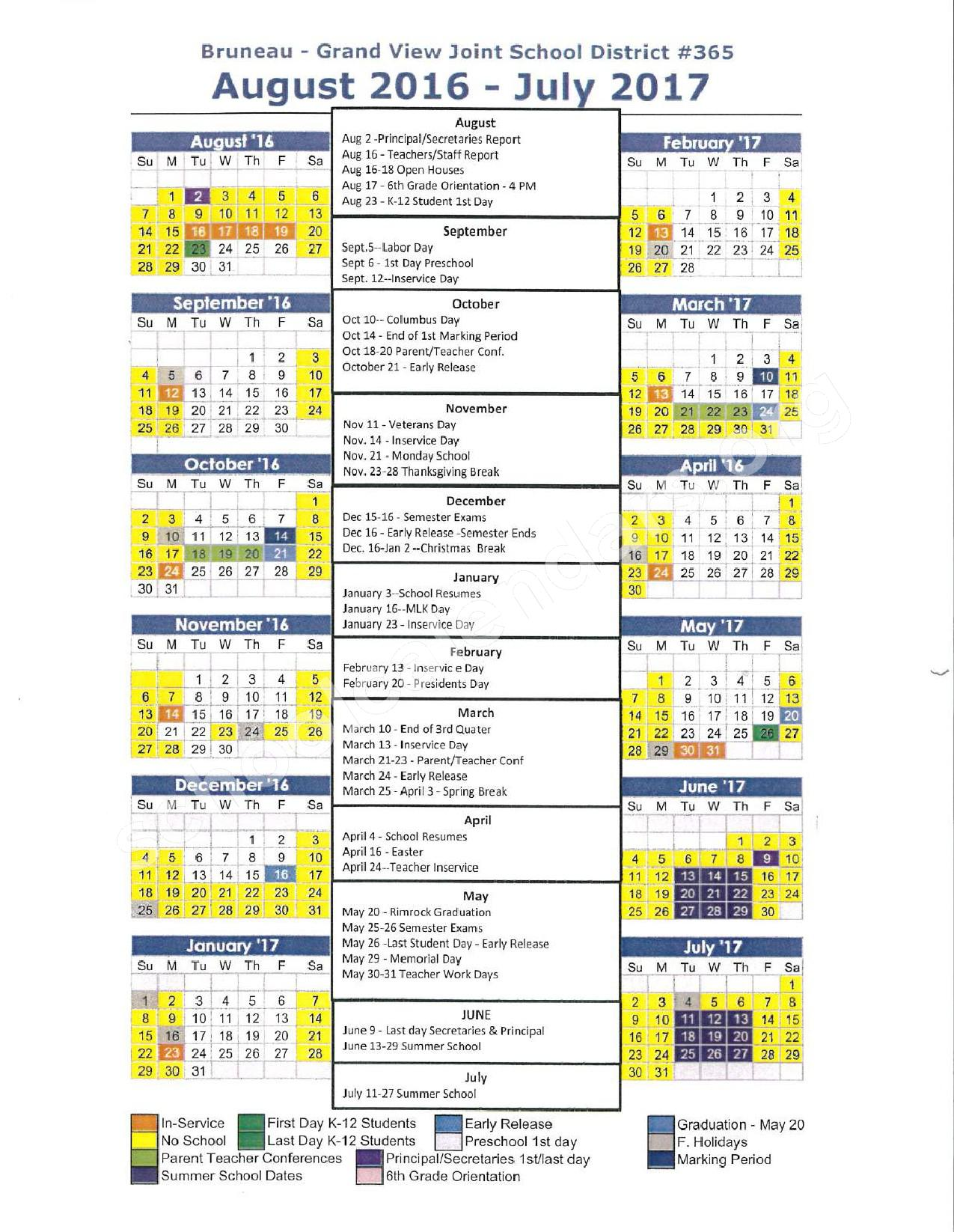 2016 - 2017 School Calendar – Bruneau-Grand View Joint School District – page 1