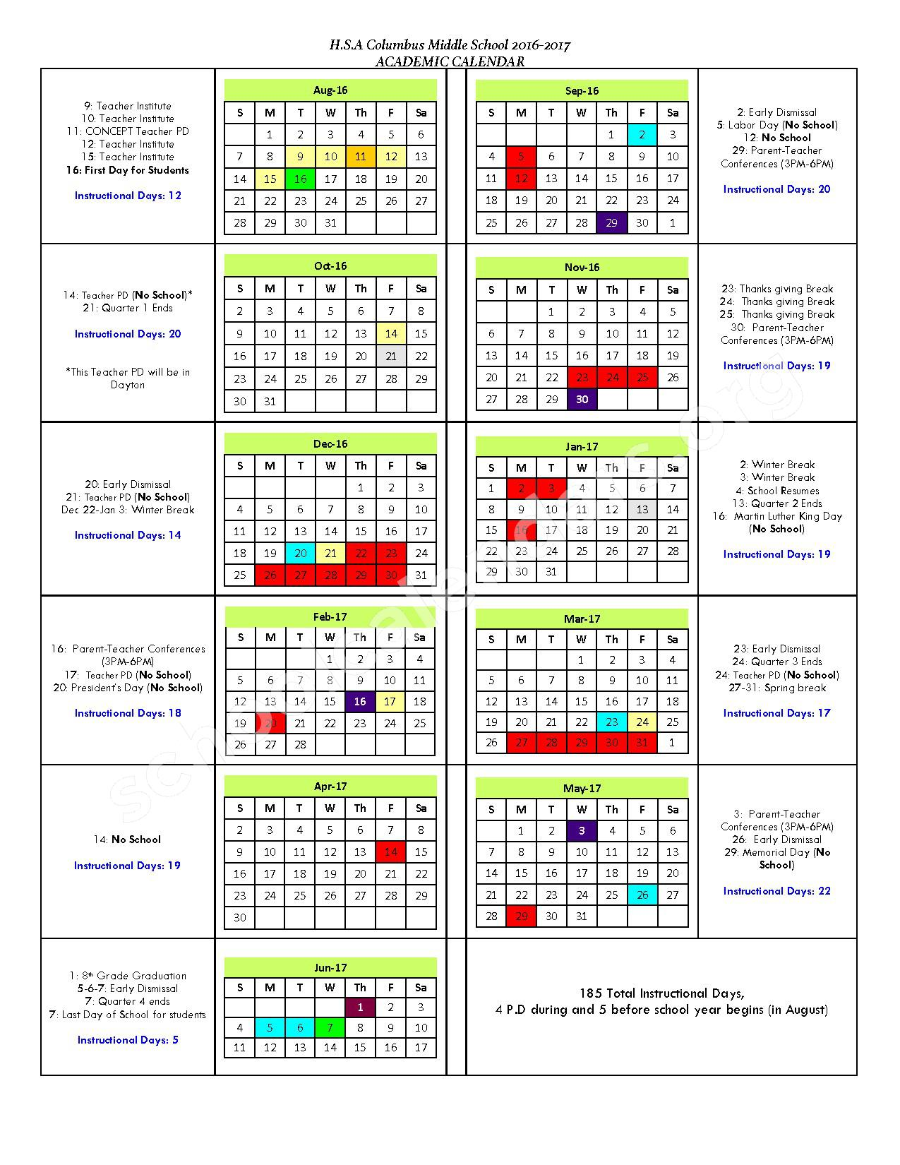 2016 - 2017 School Calendar – Horizon Science Academy Columbus Middle School – page 1