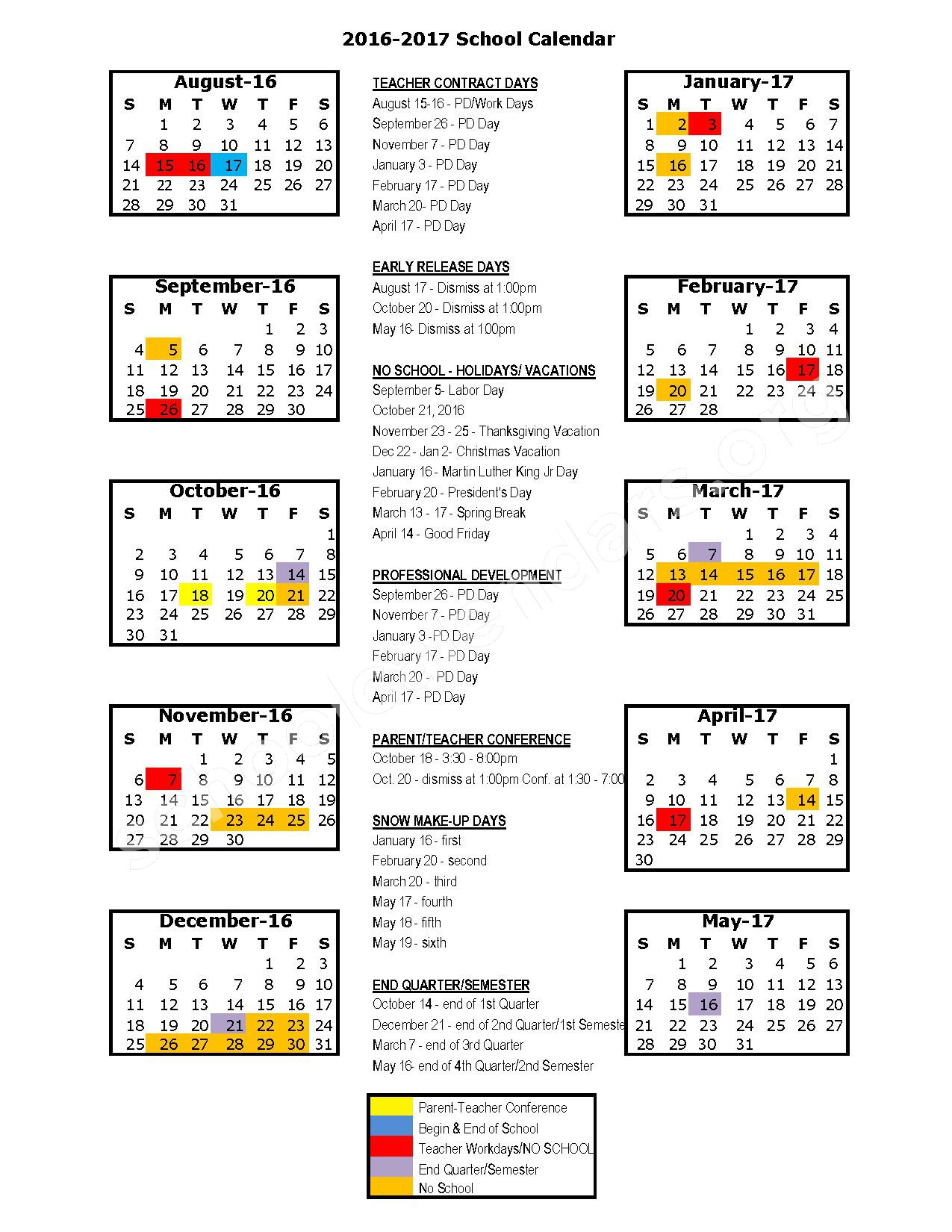 2016 - 2017 School Calendar – Drexel R-IV School District – page 1