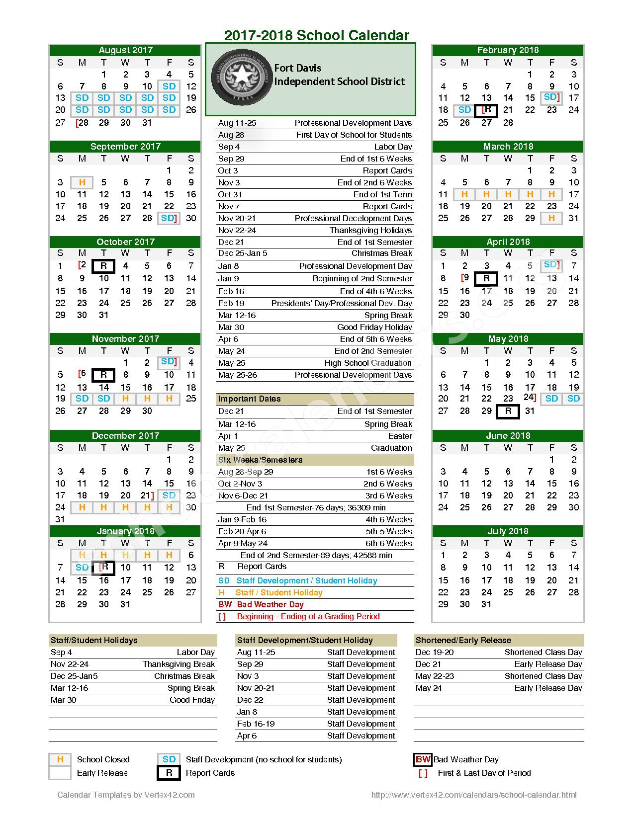 2017 - 2018 District Calendar – Fort Davis Independent School District – page 1