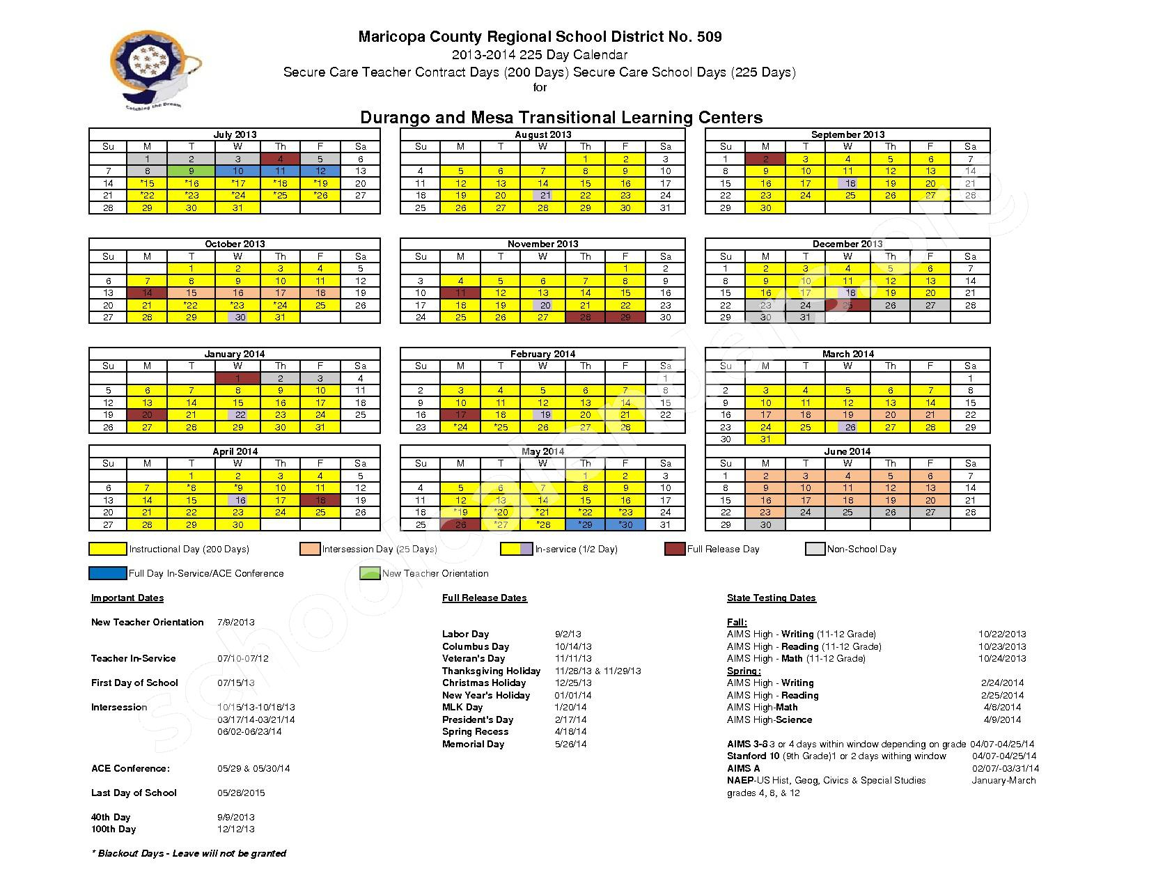 2013 - 2014 District Calendar – Maricopa County Regional School District – page 1