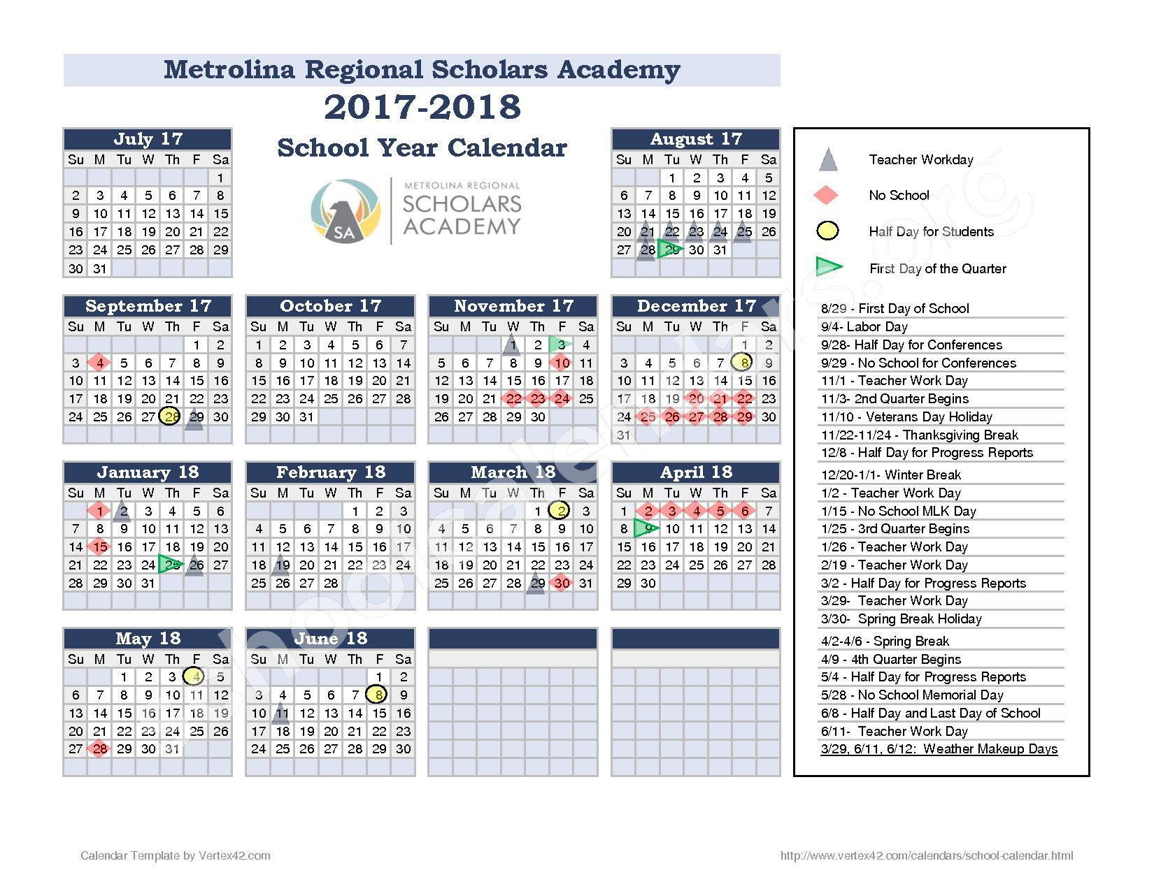 2017 - 2018 school calendar – Metrolina Regional Scholars Academy – page 1