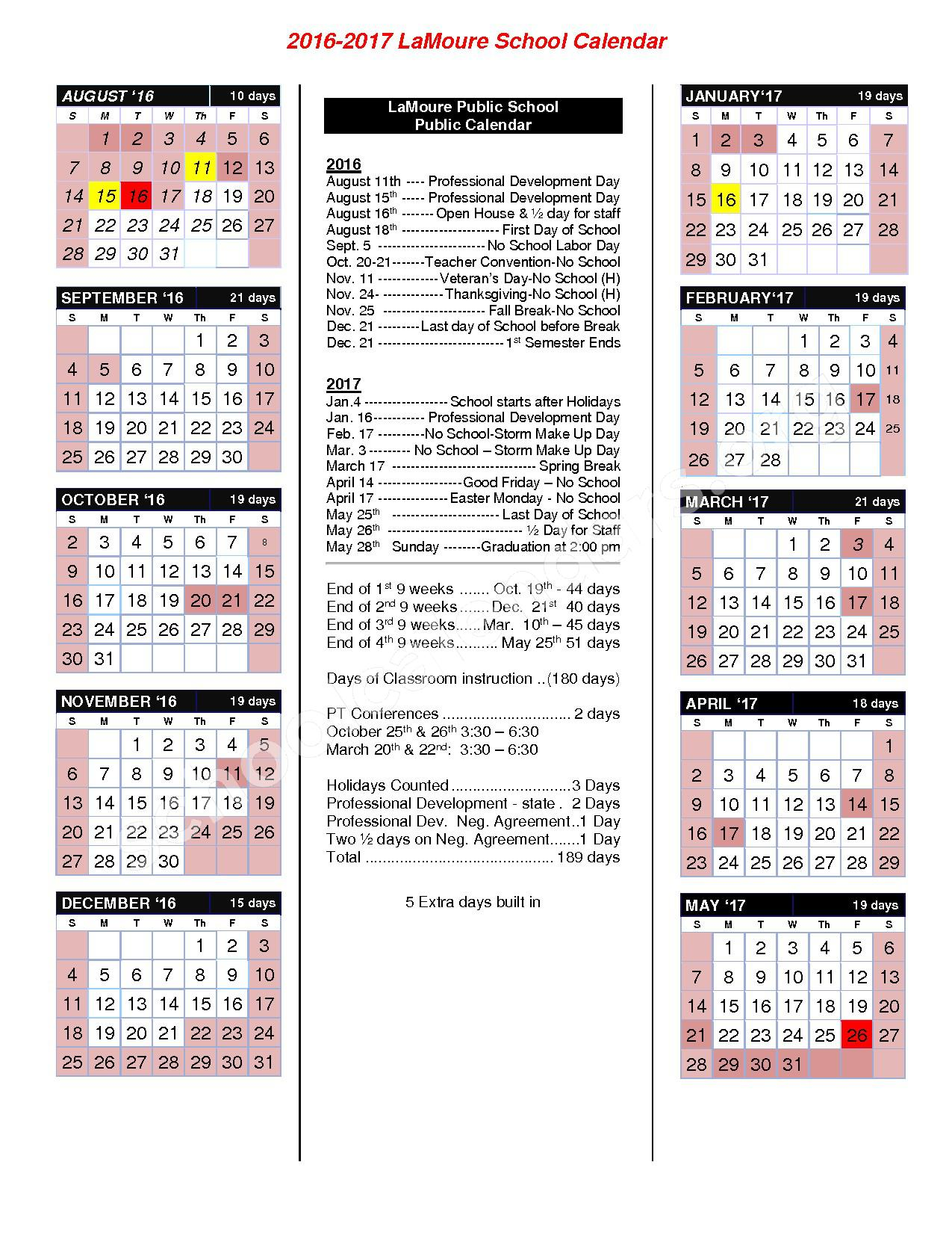 2016 - 2017 School Calendar – Lamoure High School – page 1