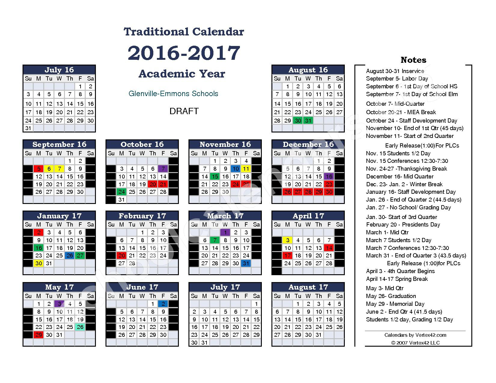 2016 - 2017 School Calendar – Glenville-Emmons School District – page 1
