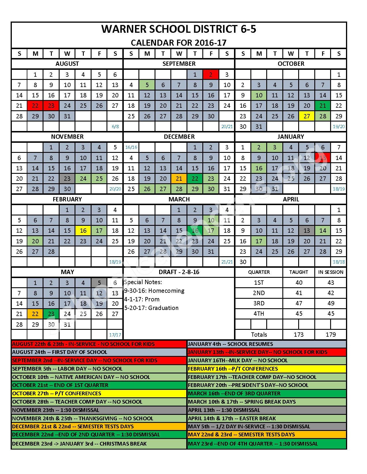 2016 - 2017 School Calendar – Warner School District 06-5 – page 1