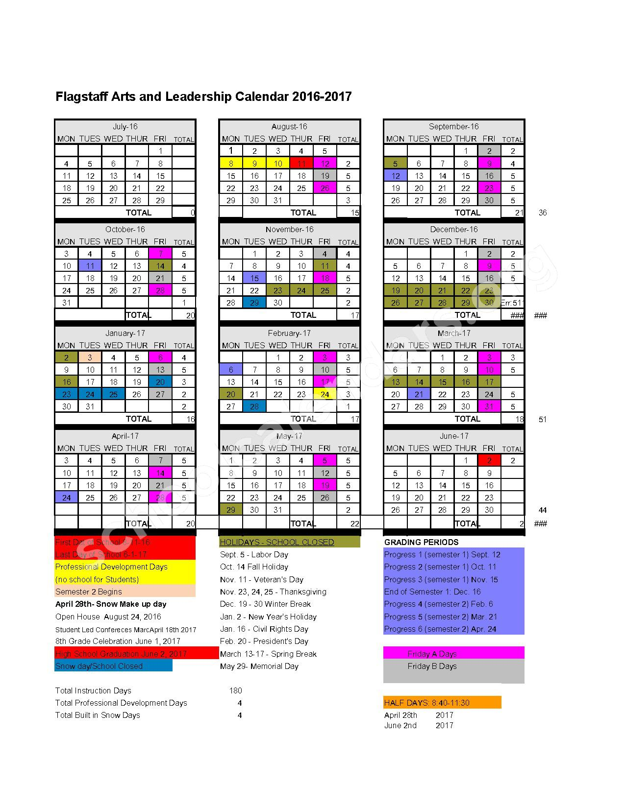 2016 - 2017 District Calendar – Flagstaff Arts and Leadership Academy – page 1