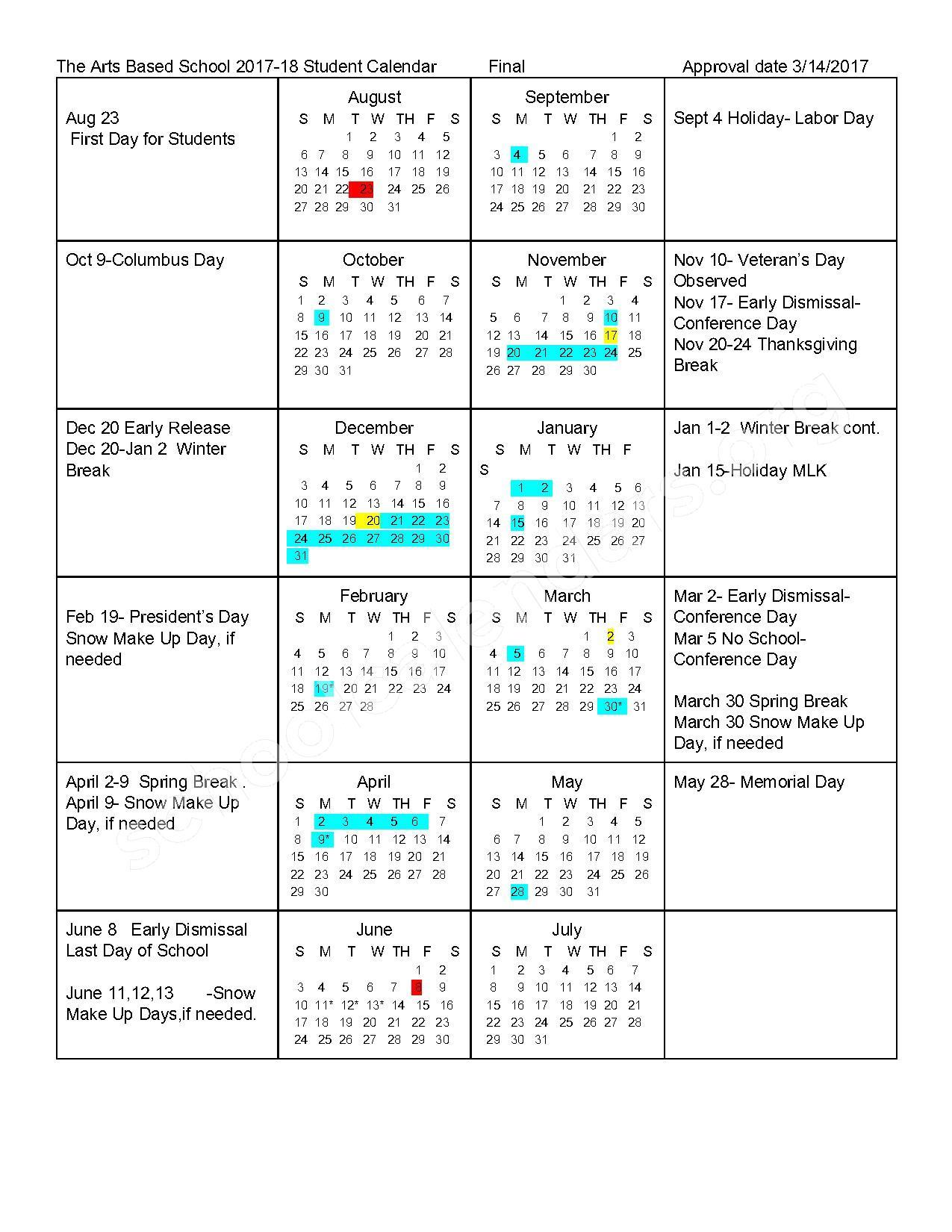 2017 - 2018 School Calendar – Arts Based Elementary – page 1