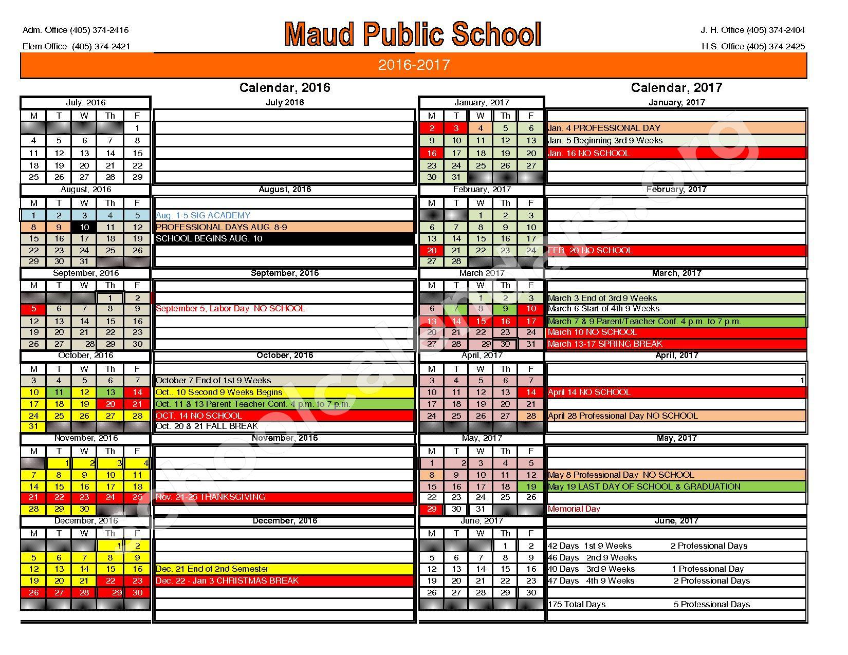 2016 - 2017 School Calendar – Maud Public Schools – page 1