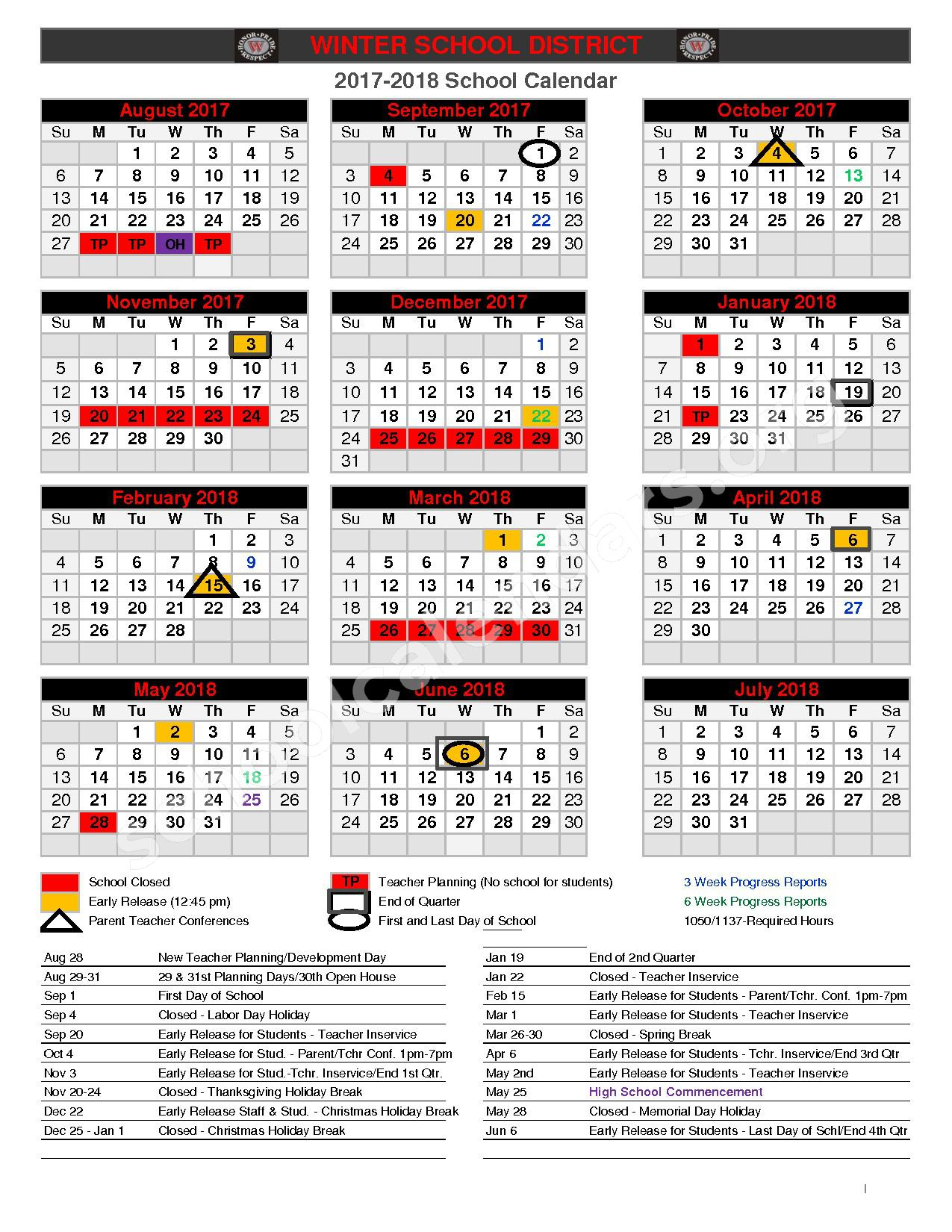 2017 - 2018 School Calendar – Winter Middle School – page 1