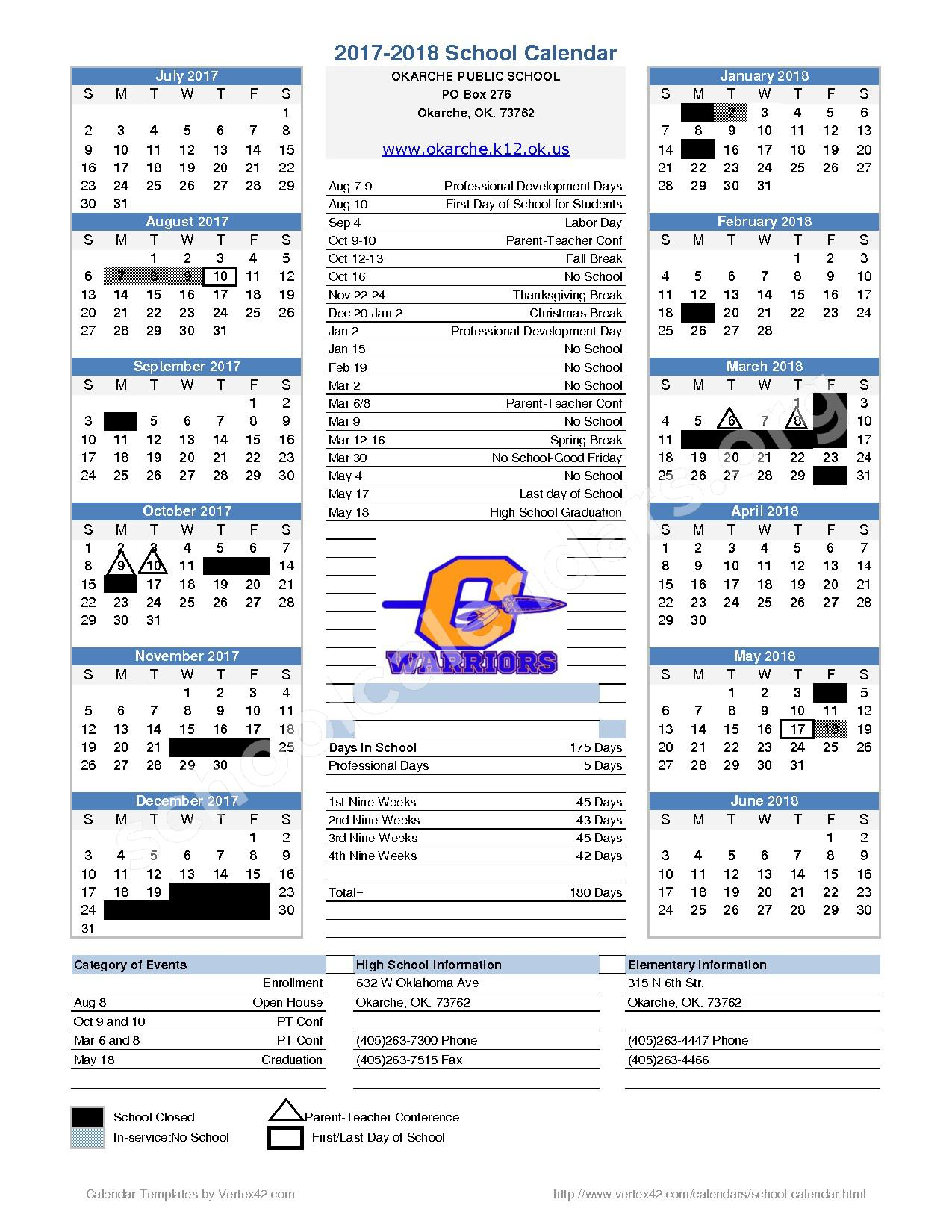 2017 - 2018 District Calendar – Okarche Junior High School – page 1