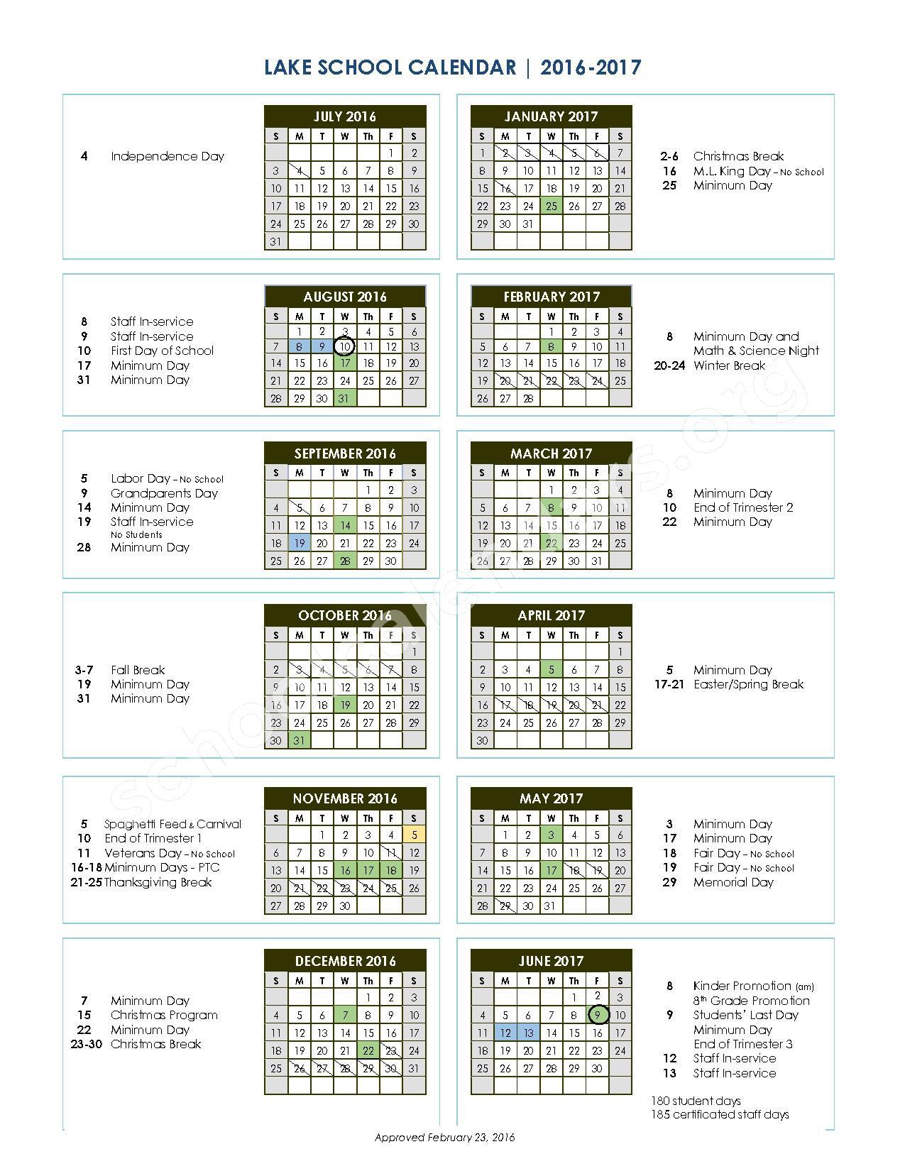 2016 - 2017 school calendar – Glenn County Office of Education – page 1