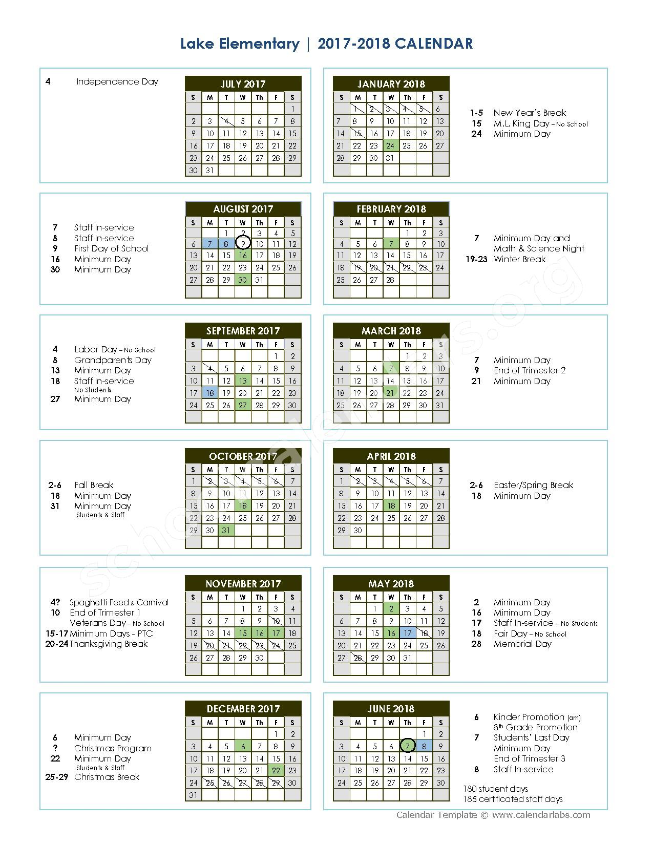 2017 - 2018 school calendar – Glenn County Office of Education – page 1