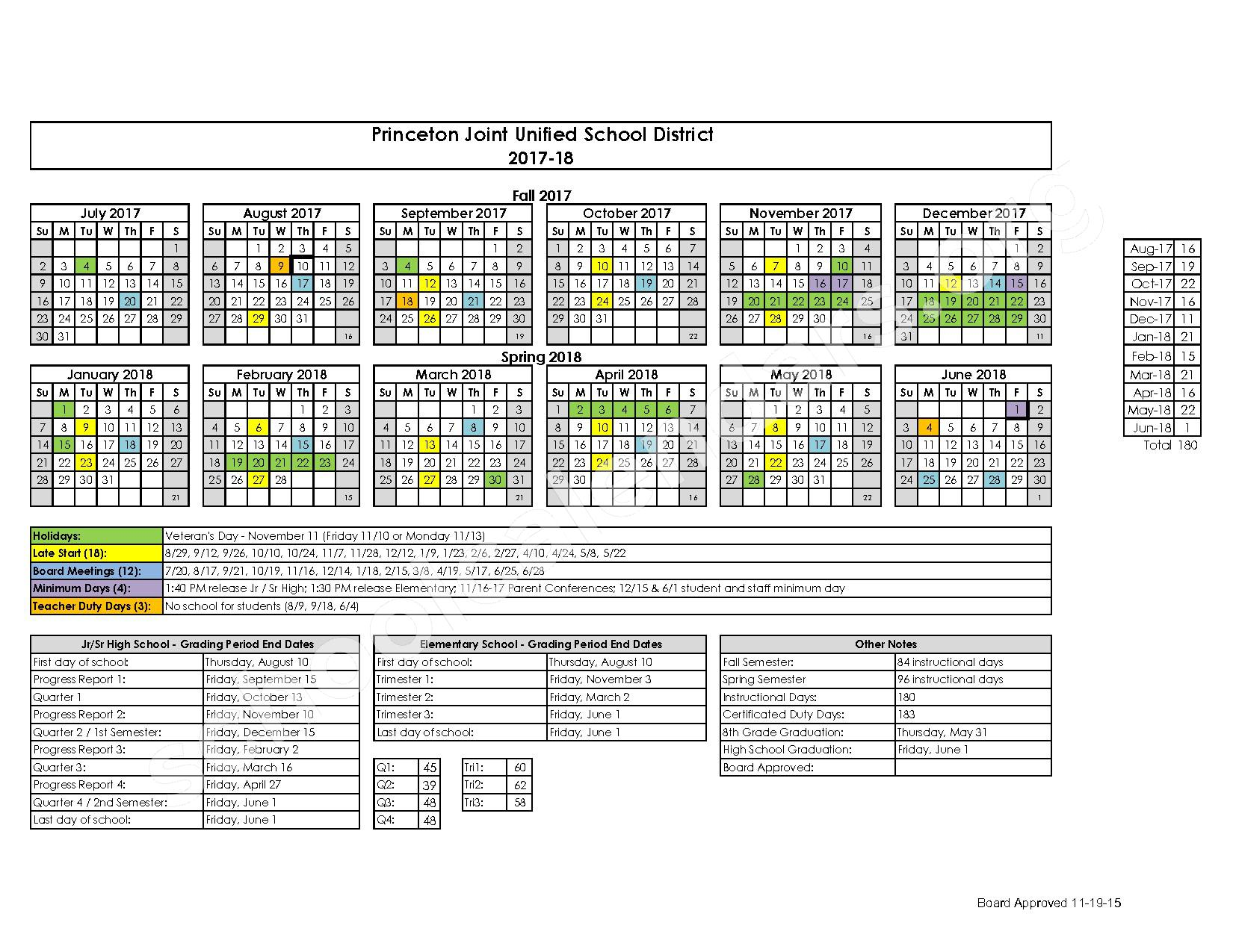 2017 - 2018 District Calendar – Glenn County Office of Education – page 1