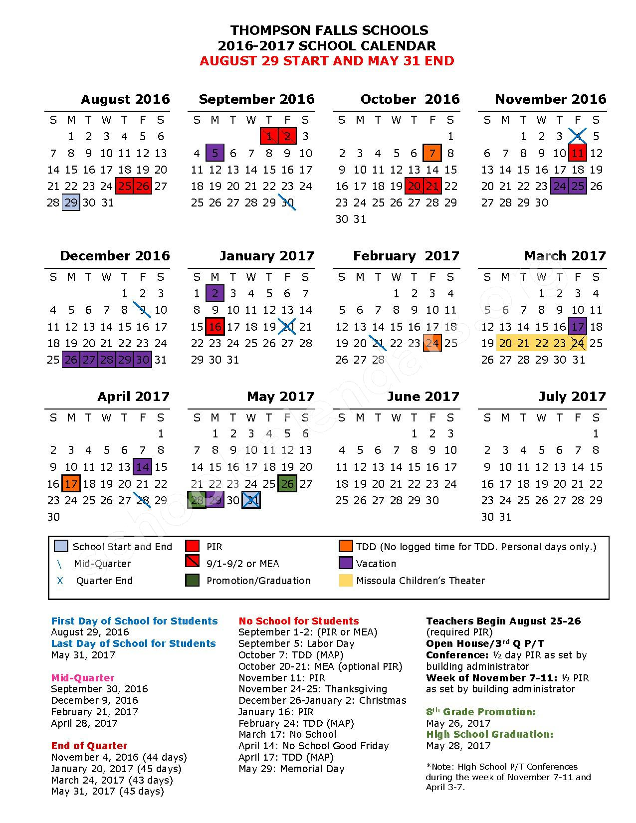 2016 - 2017 District Calendar – Thompson Falls Public Schools – page 1