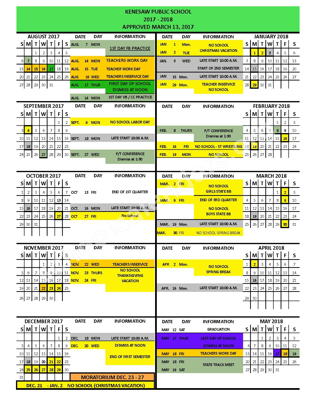 2017 - 2018 District Calendar – Kenesaw Public Schools – page 1