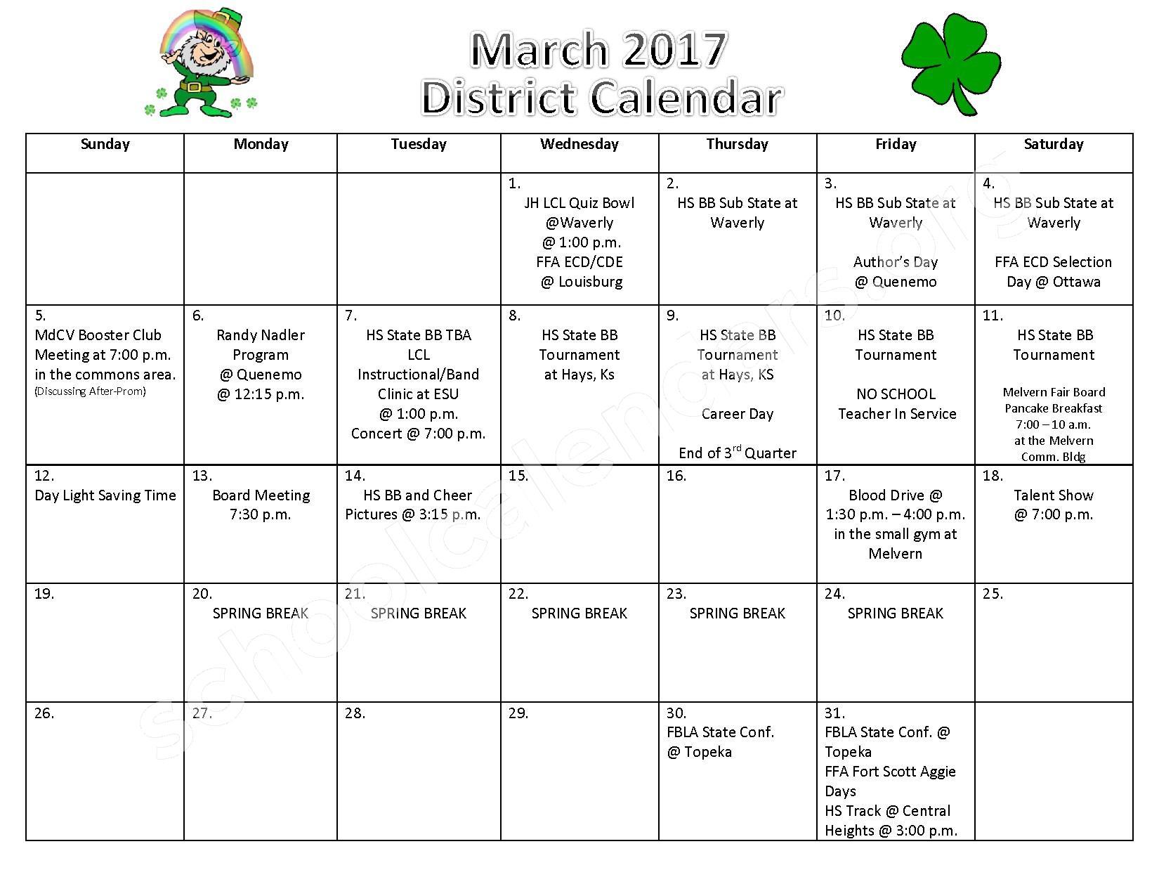 2016 - 2017 District Calendar – Marais Des Cygnes Valley Unified School District 456 – page 1