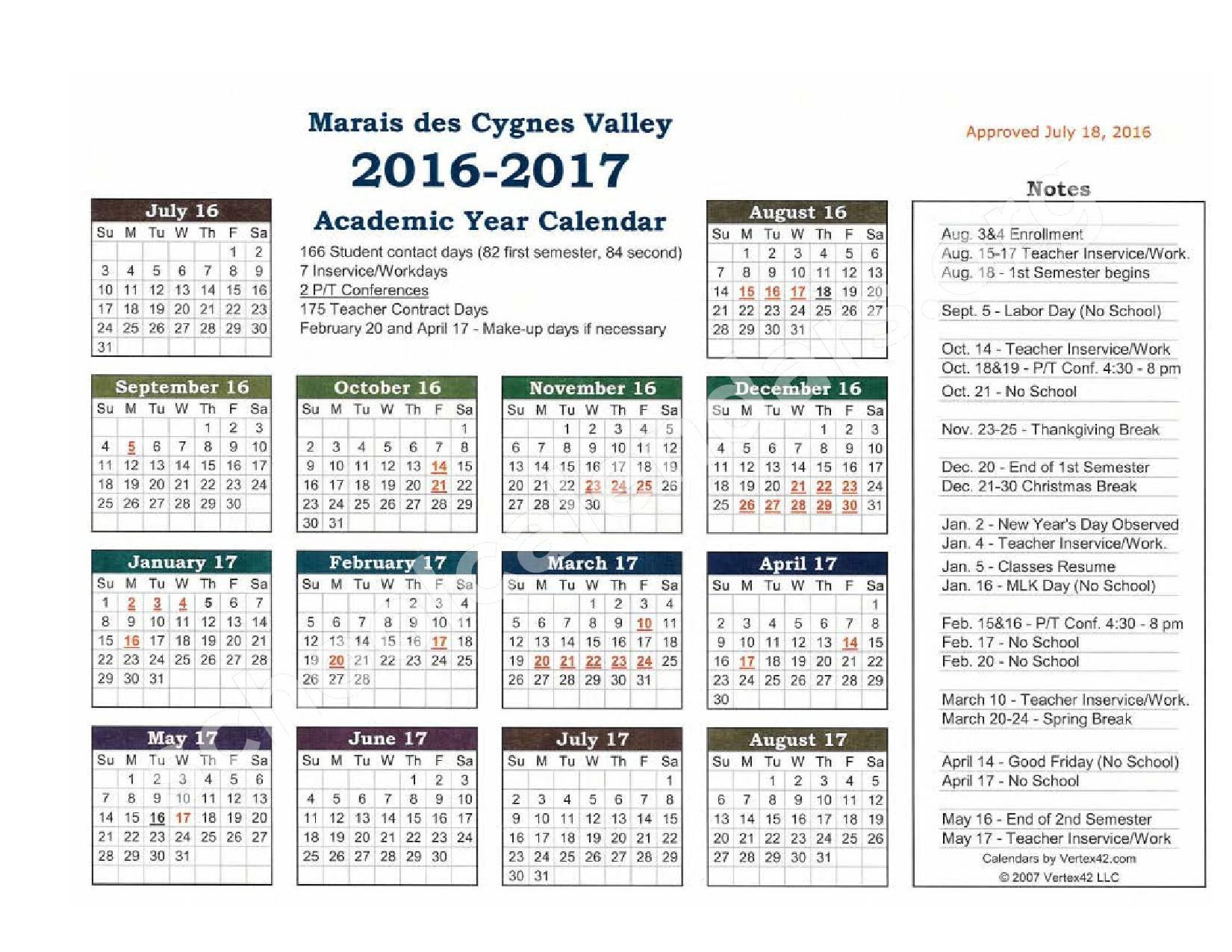 2016 - 2017 District Calendar – Marais Des Cygnes Valley Unified School District 456 – page 2