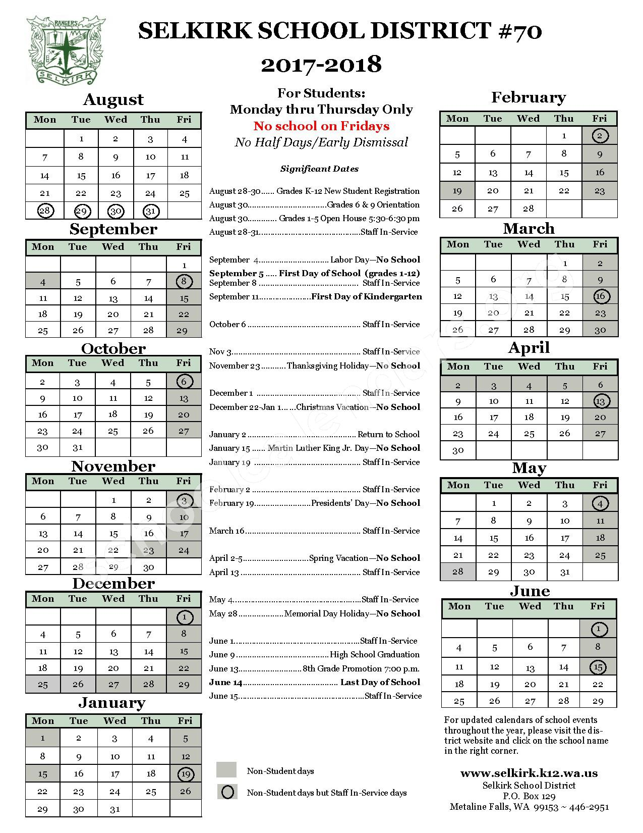 2017 - 2018 District Calendar – Wilbur School District – page 1
