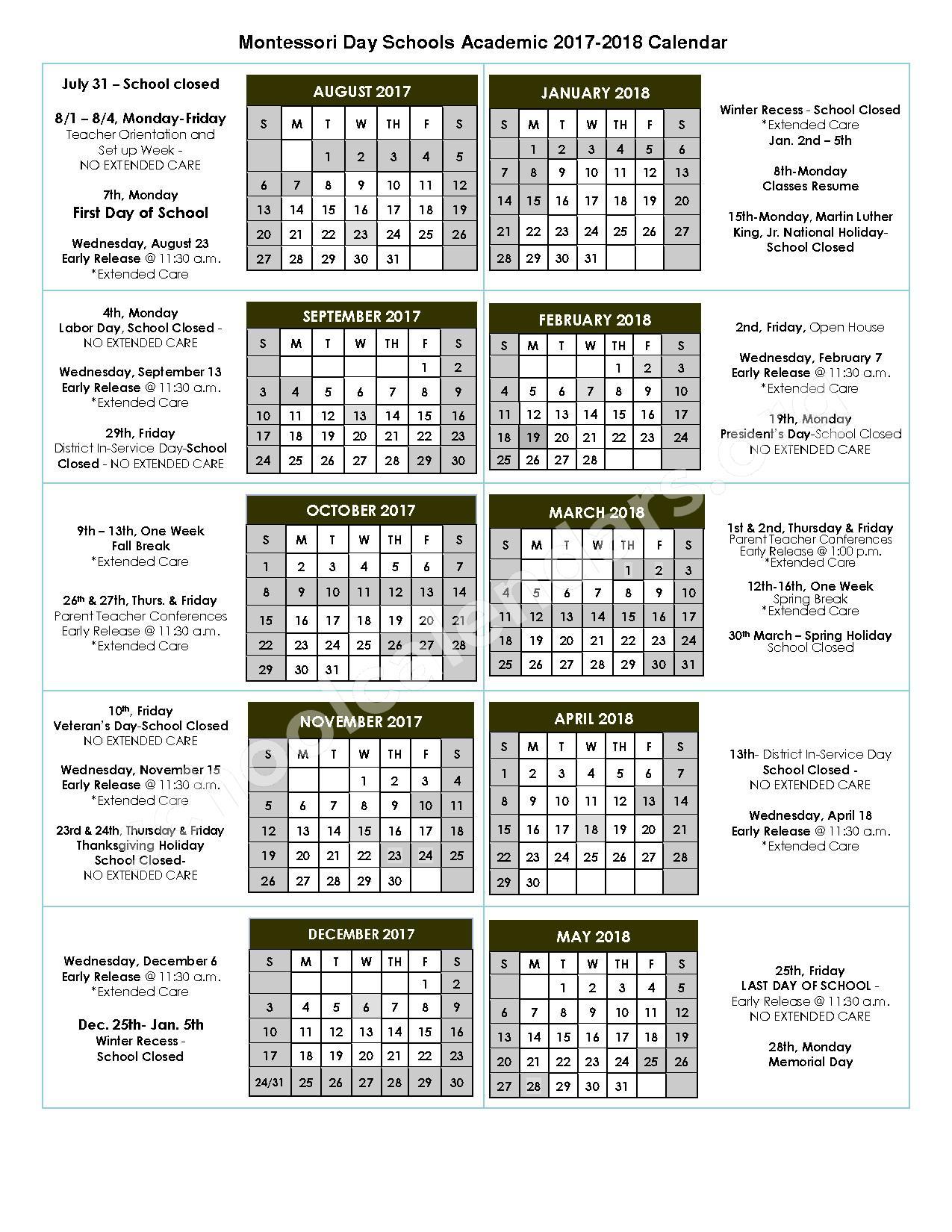 2017 - 2018 School Calendar – Montessori Day Schools – page 1