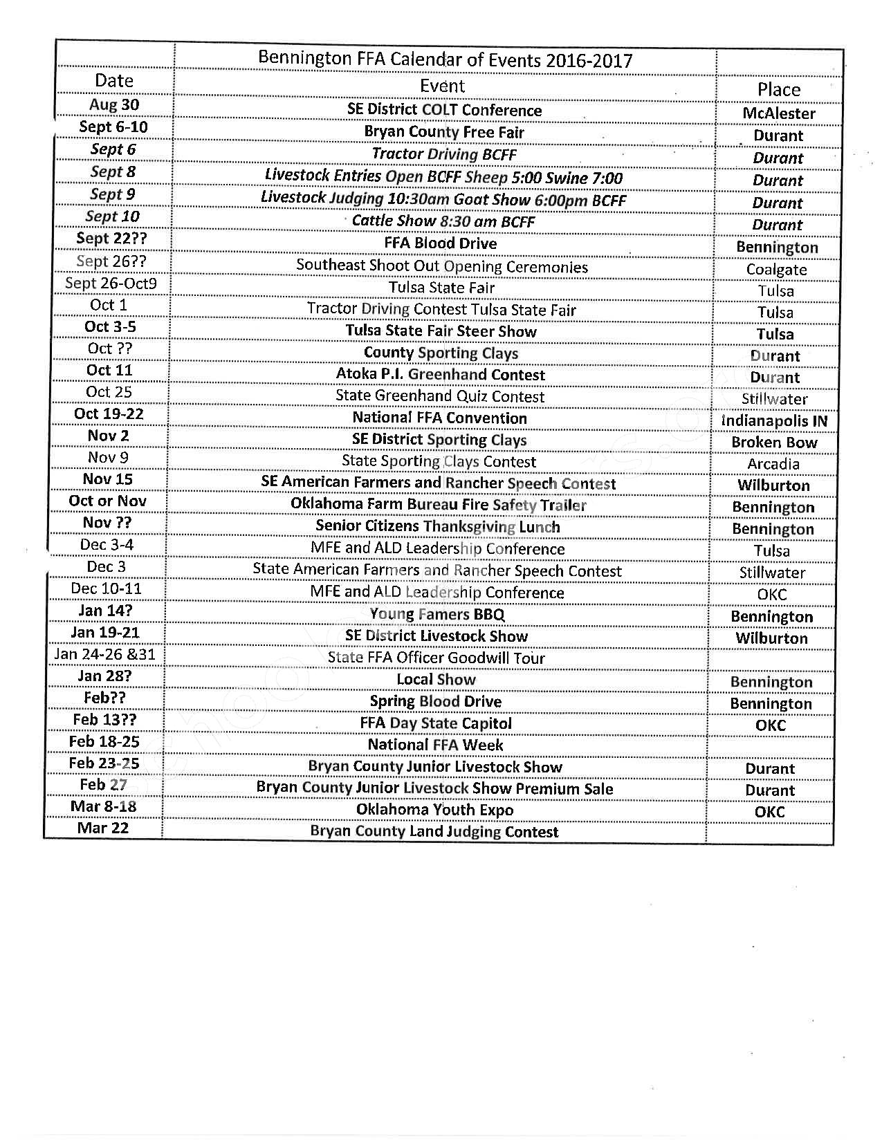 2016 - 2017 School Calendar – Bennington Elementary School – page 1