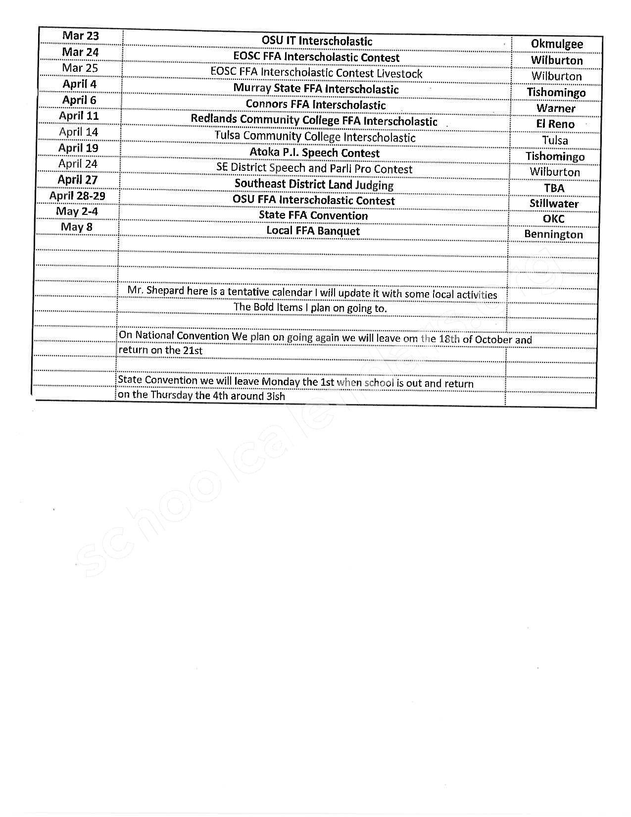 2016 - 2017 School Calendar – Bennington Elementary School – page 2