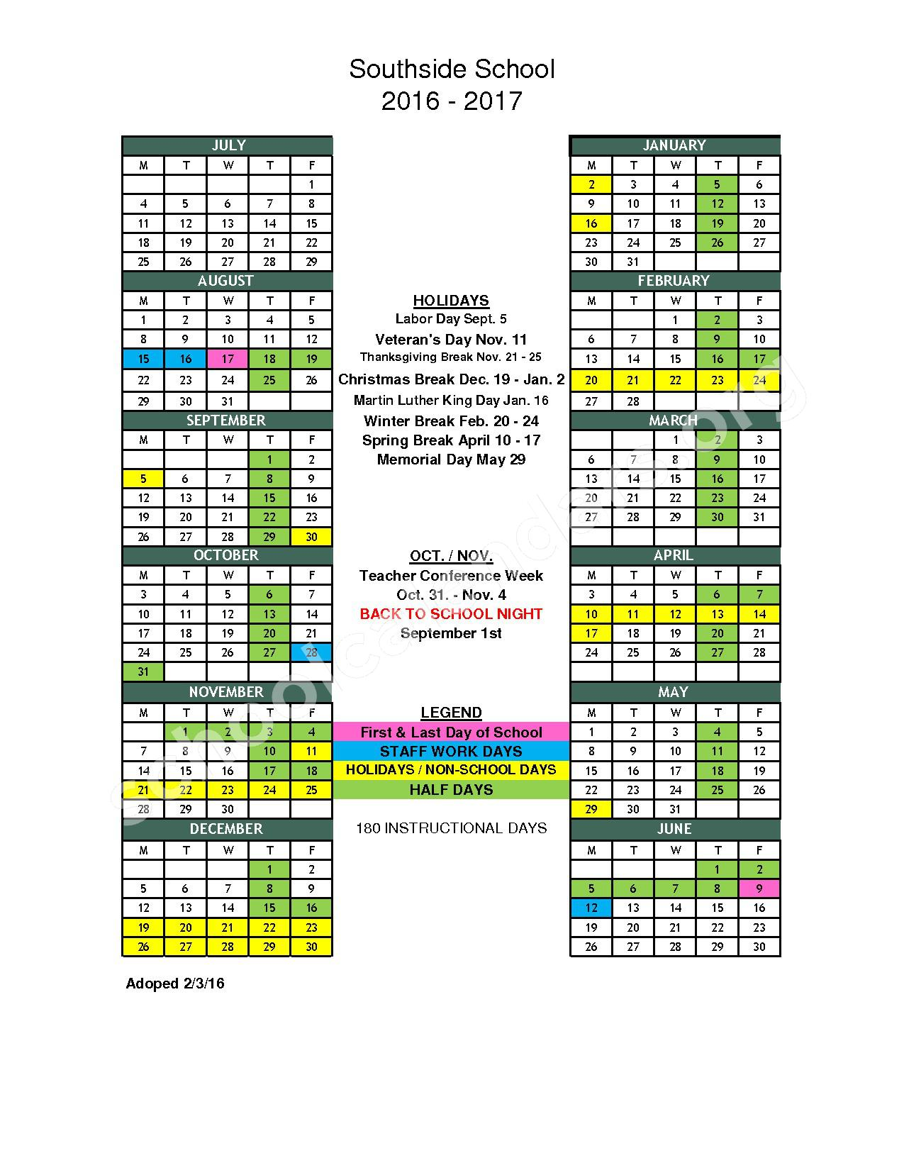2016 - 2017 School Calendar – Southside Elementary School District – page 1