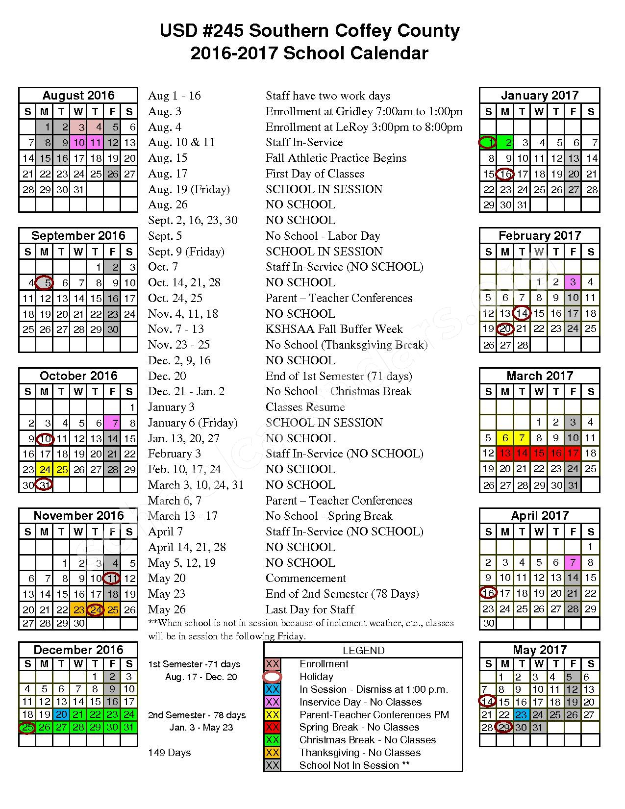 2016 - 2017 School Calendar – Southern Coffey County High School – page 1