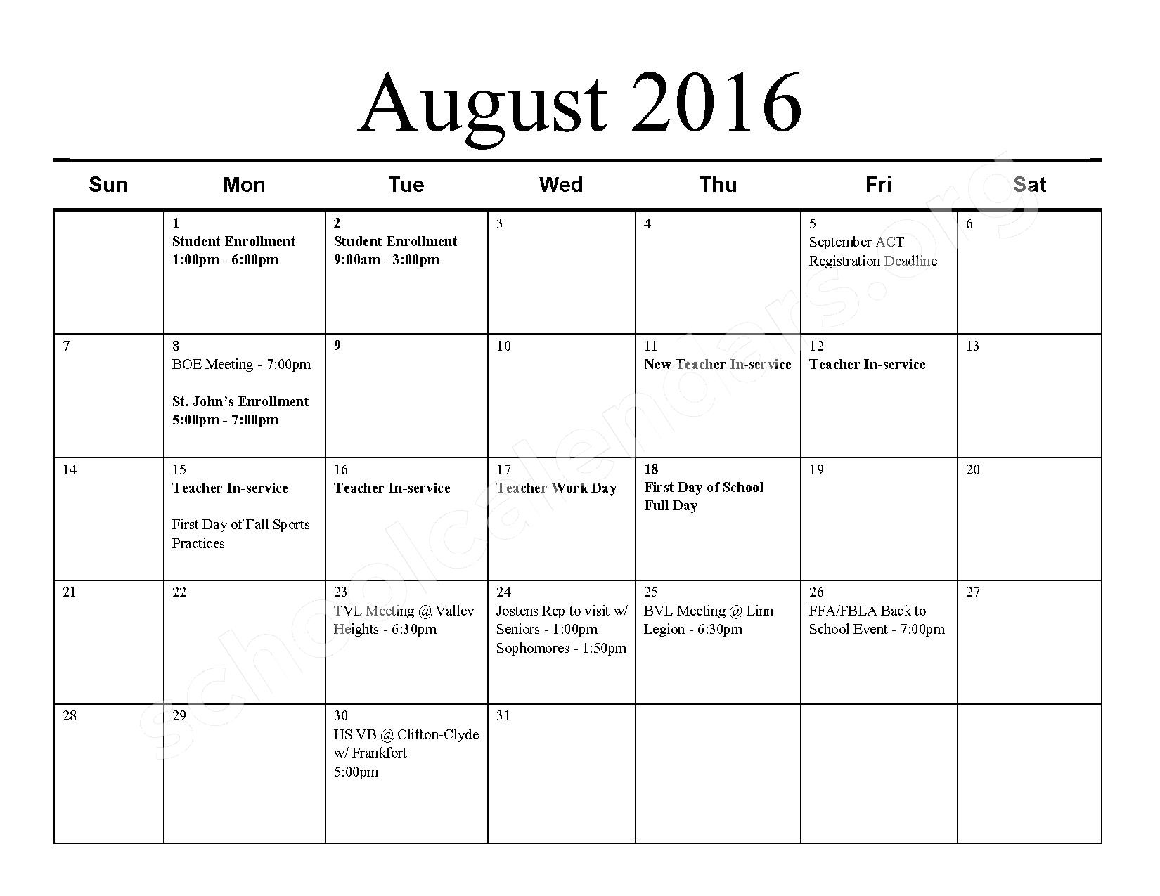 2016 - 2017 School Calendar – Barnes Unified School District 223 – page 1