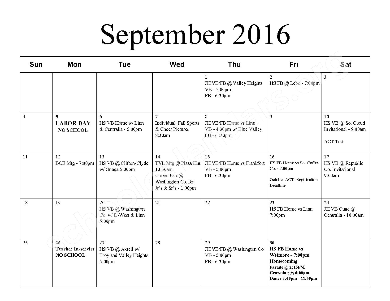 2016 - 2017 School Calendar – Barnes Unified School District 223 – page 2