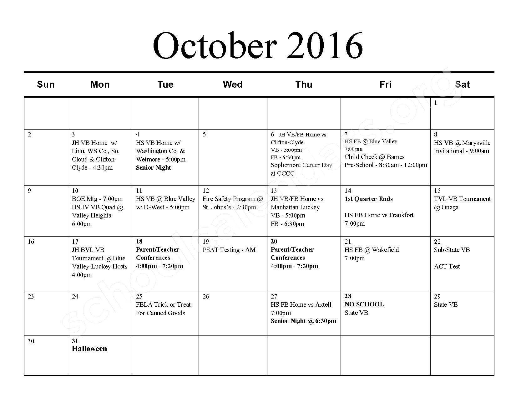 2016 - 2017 School Calendar – Barnes Unified School District 223 – page 3