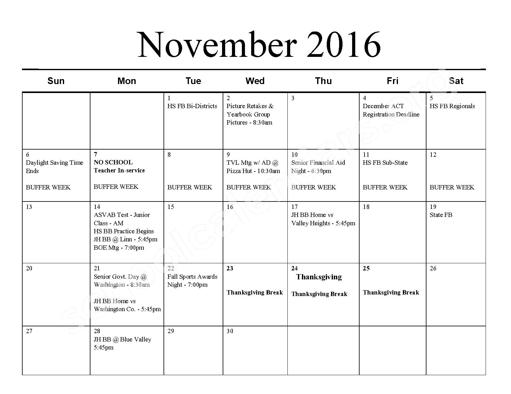 2016 - 2017 School Calendar – Barnes Unified School District 223 – page 4