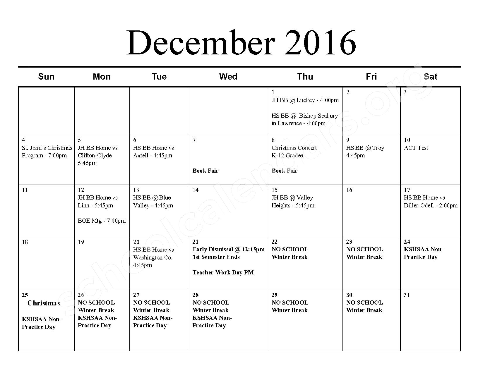 2016 - 2017 School Calendar – Barnes Unified School District 223 – page 5