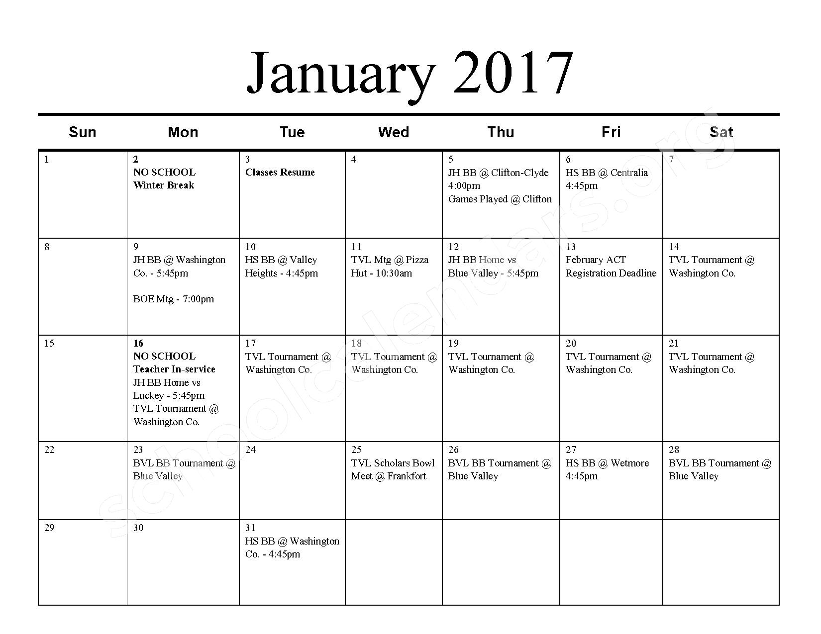 2016 - 2017 School Calendar – Barnes Unified School District 223 – page 6