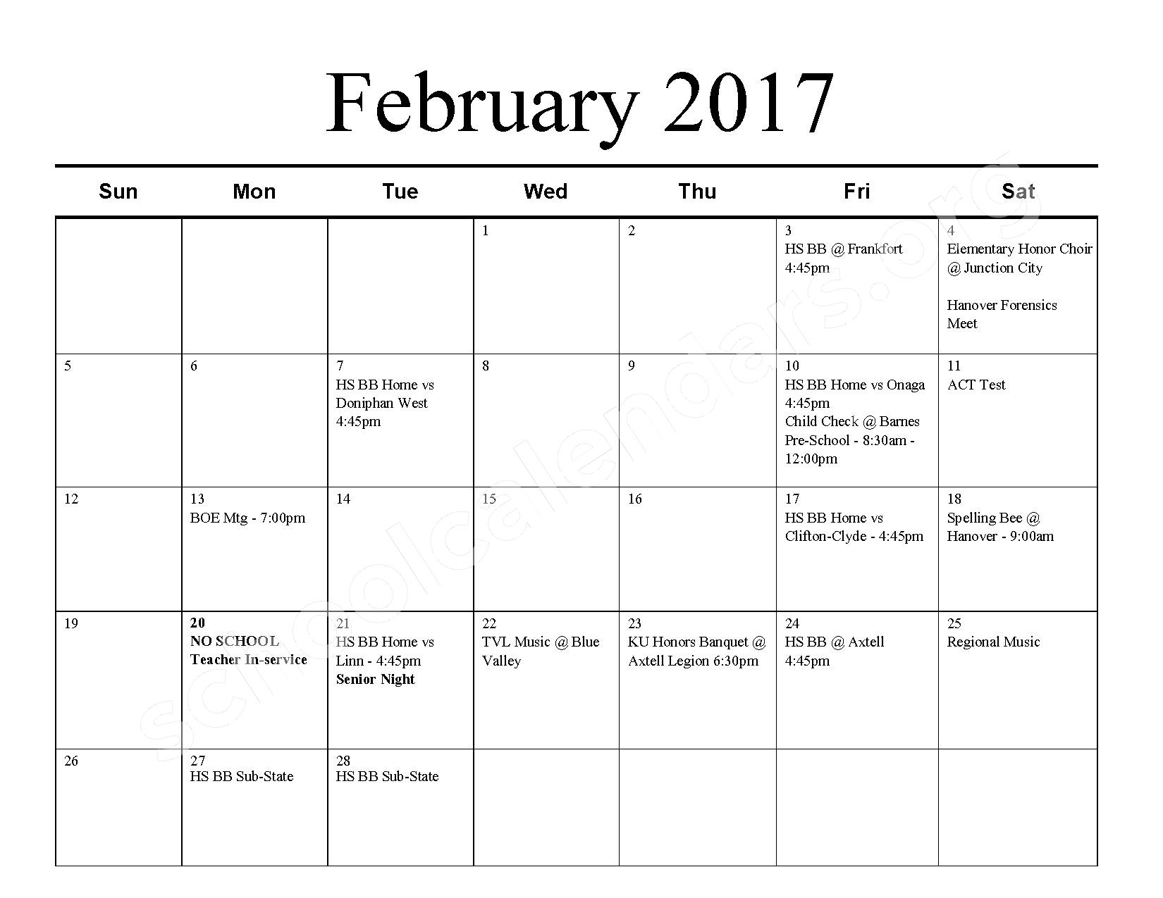 2016 - 2017 School Calendar – Barnes Unified School District 223 – page 7