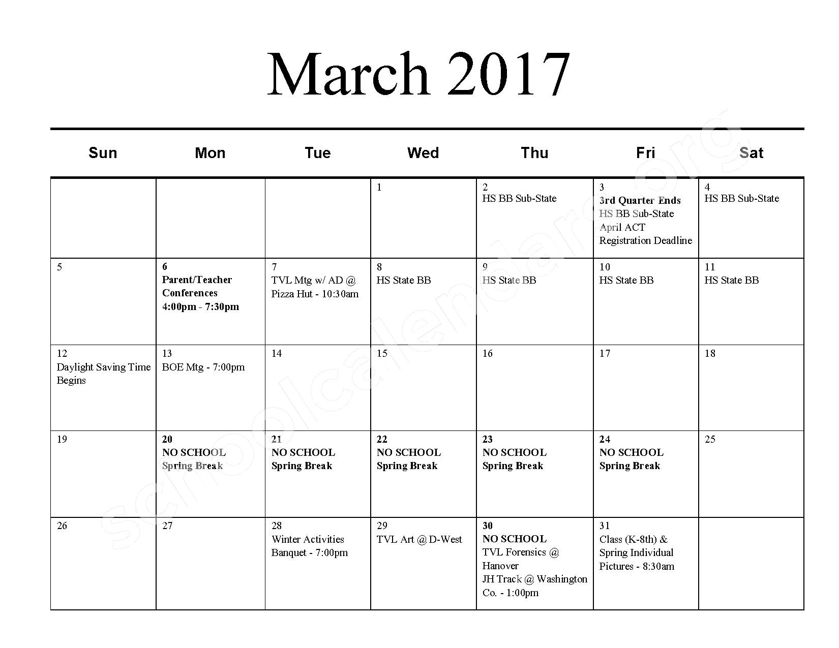 2016 - 2017 School Calendar – Barnes Unified School District 223 – page 8