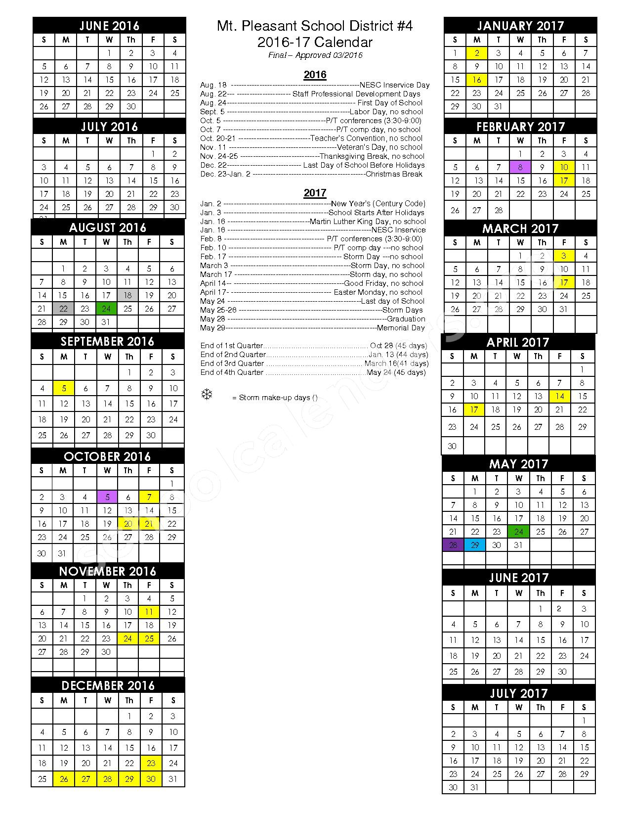 2016 - 2017 District Calendar – Mount Pleasant Public School #4 – page 1