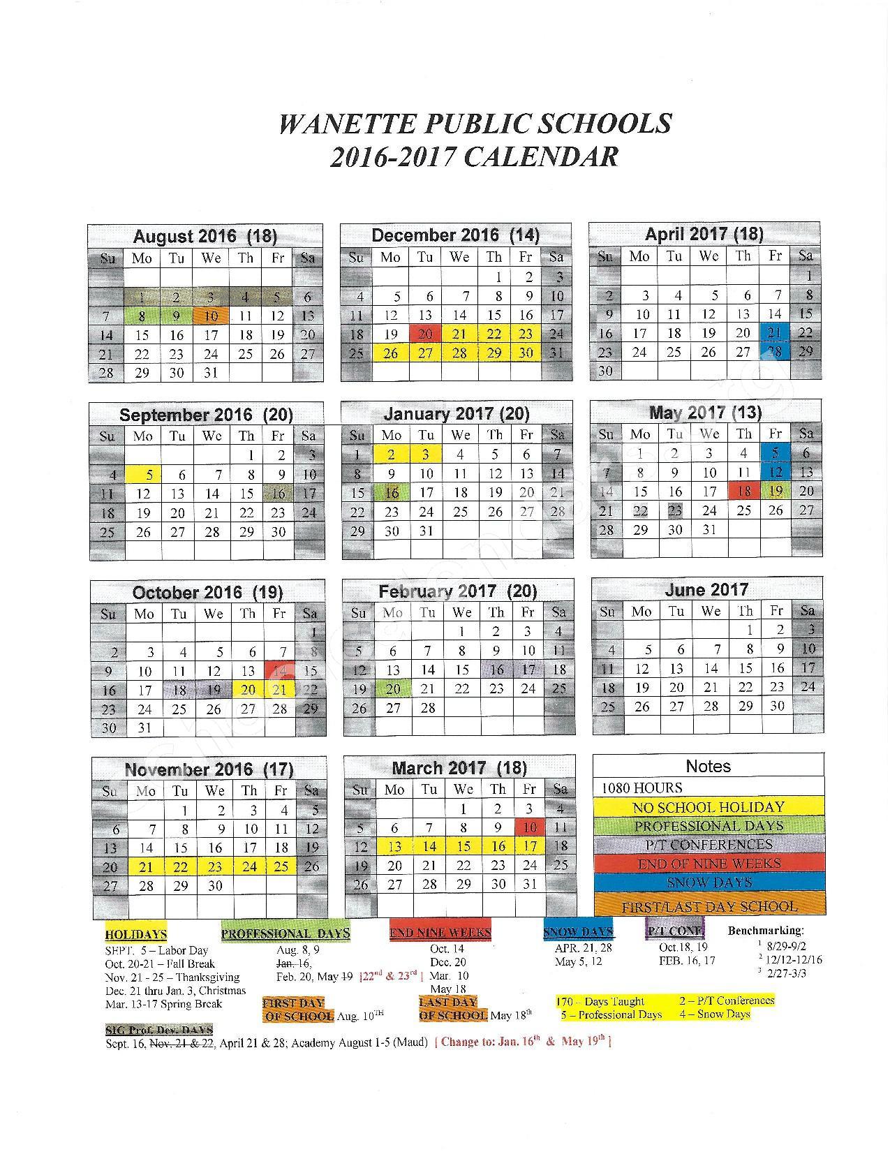 2016 - 2017 School Calendar – Wanette Elementary School – page 1