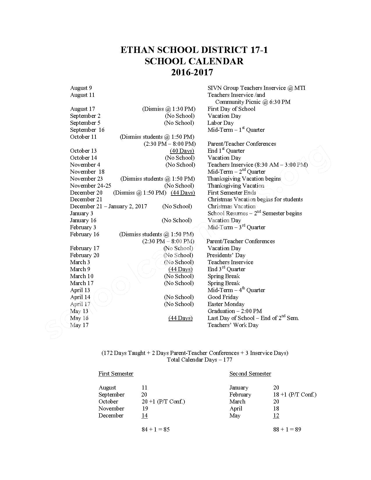 2016 - 2017 School Calendar – Ethan School District 17-1 – page 1
